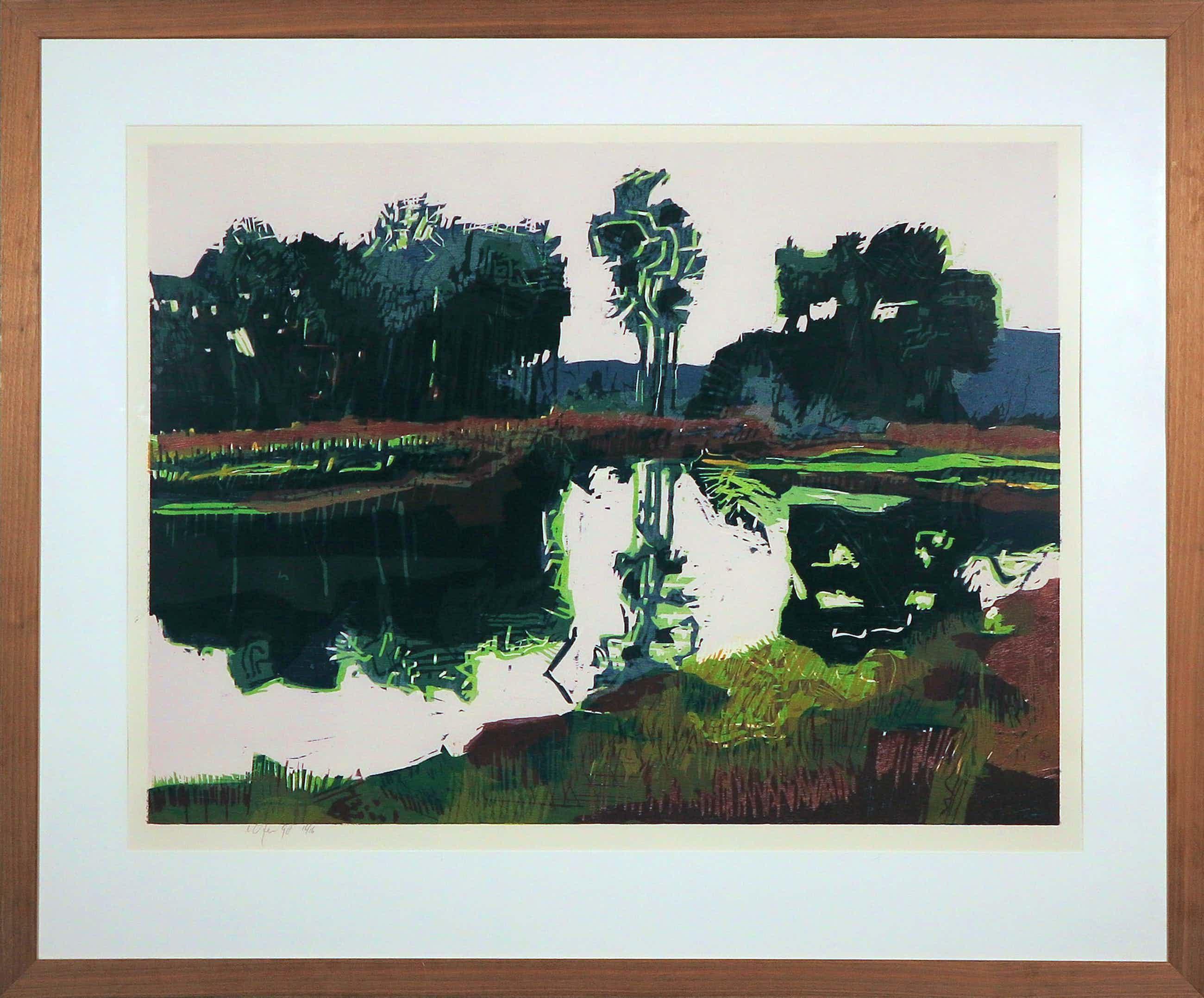 Vincent van Ojen - Houtsnede, Landschap aan meer - Ingelijst (Groot) kopen? Bied vanaf 260!