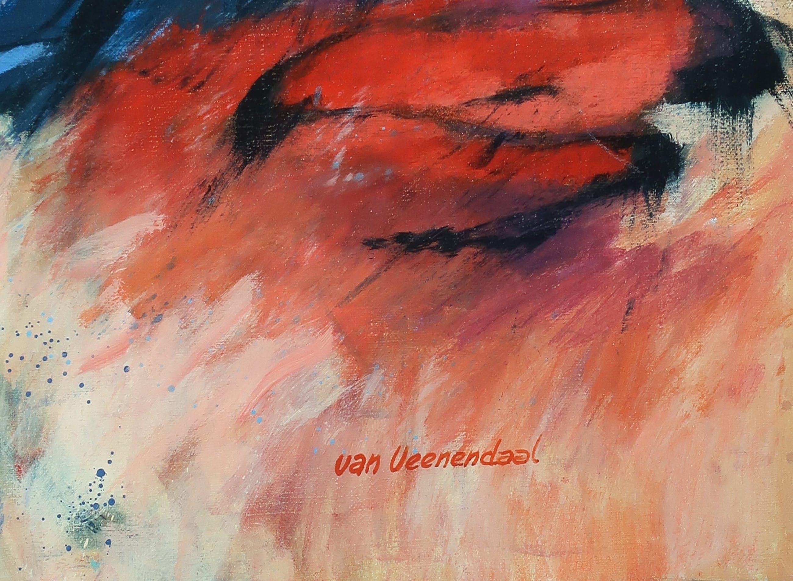 Hendrik van Veenendaal - Olieverf op doek, Abstract landschap - Ingelijst kopen? Bied vanaf 150!