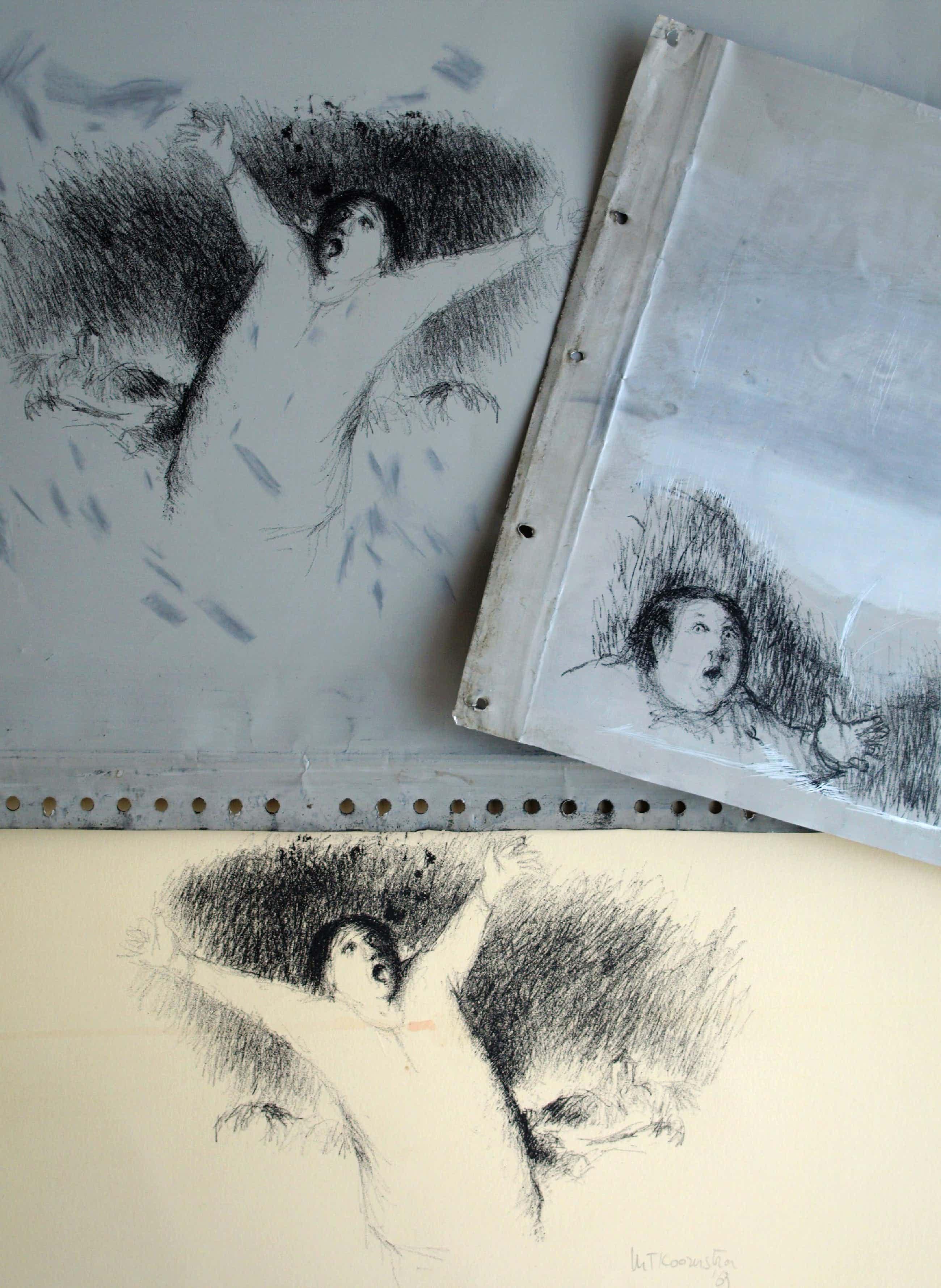 Metten Koornstra - Litho + 2 originele drukplaten – De schreeuw – 1963 kopen? Bied vanaf 40!