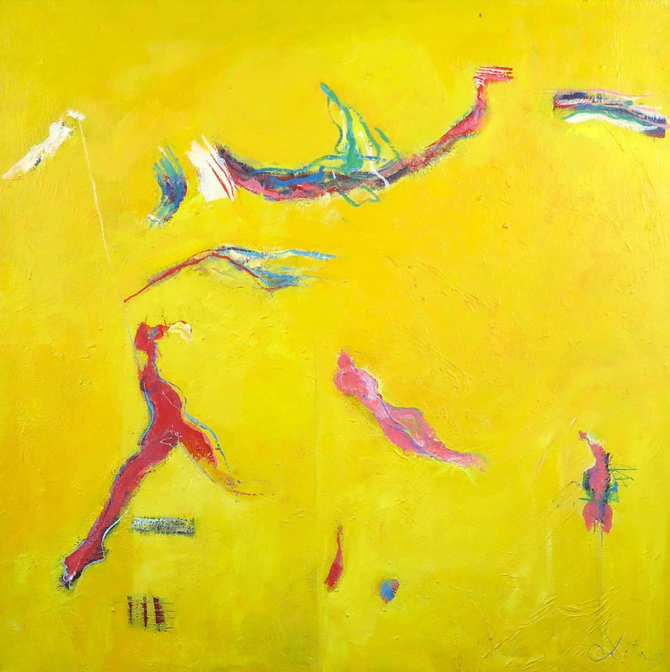 Franscz Witte - Olieverf op doek, Dansende beweging kopen? Bied vanaf 95!