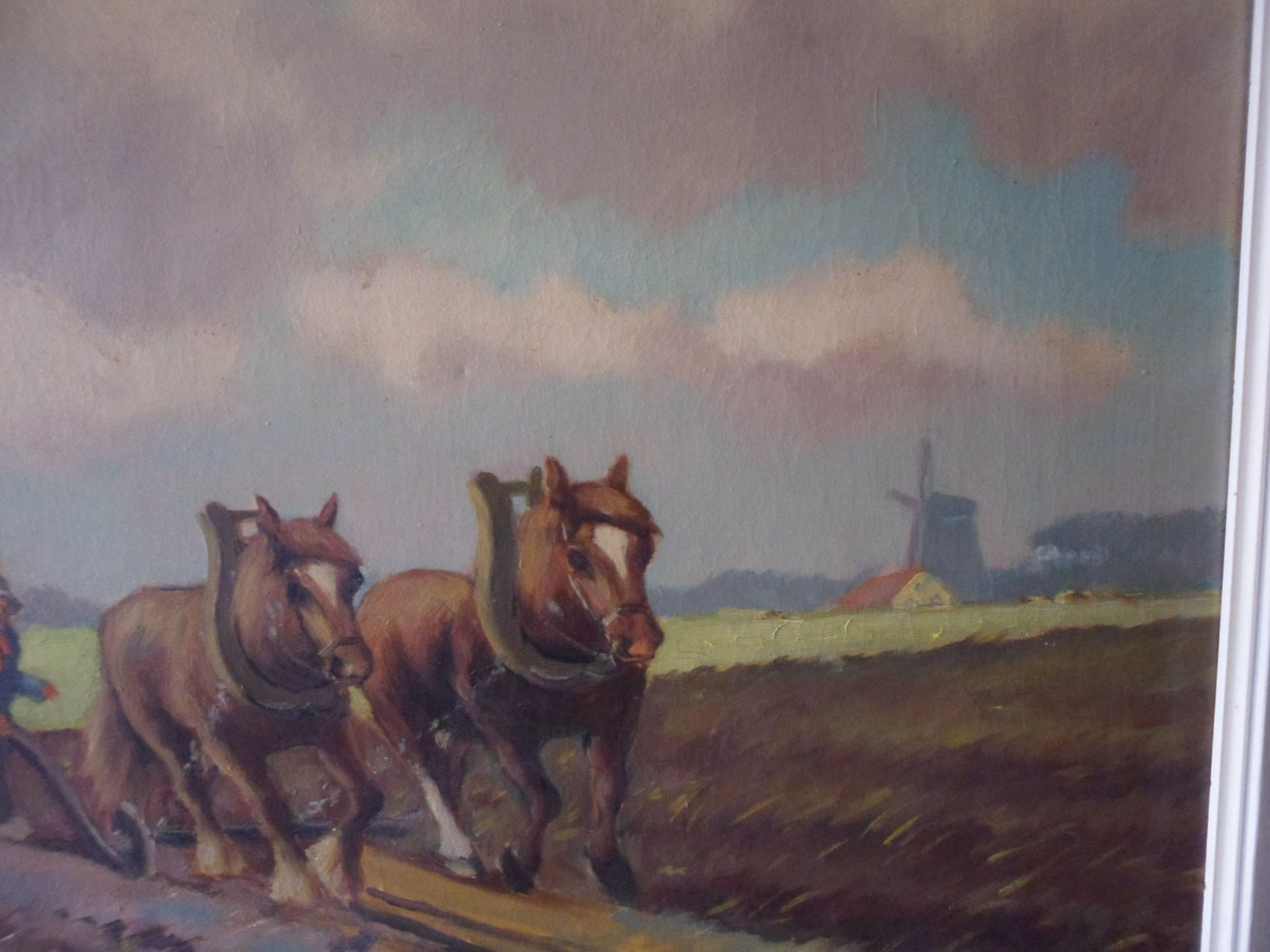 Chris de Bruijn - olieverf op doek, Boer met twee trekpaarden voor ploeg kopen? Bied vanaf 45!