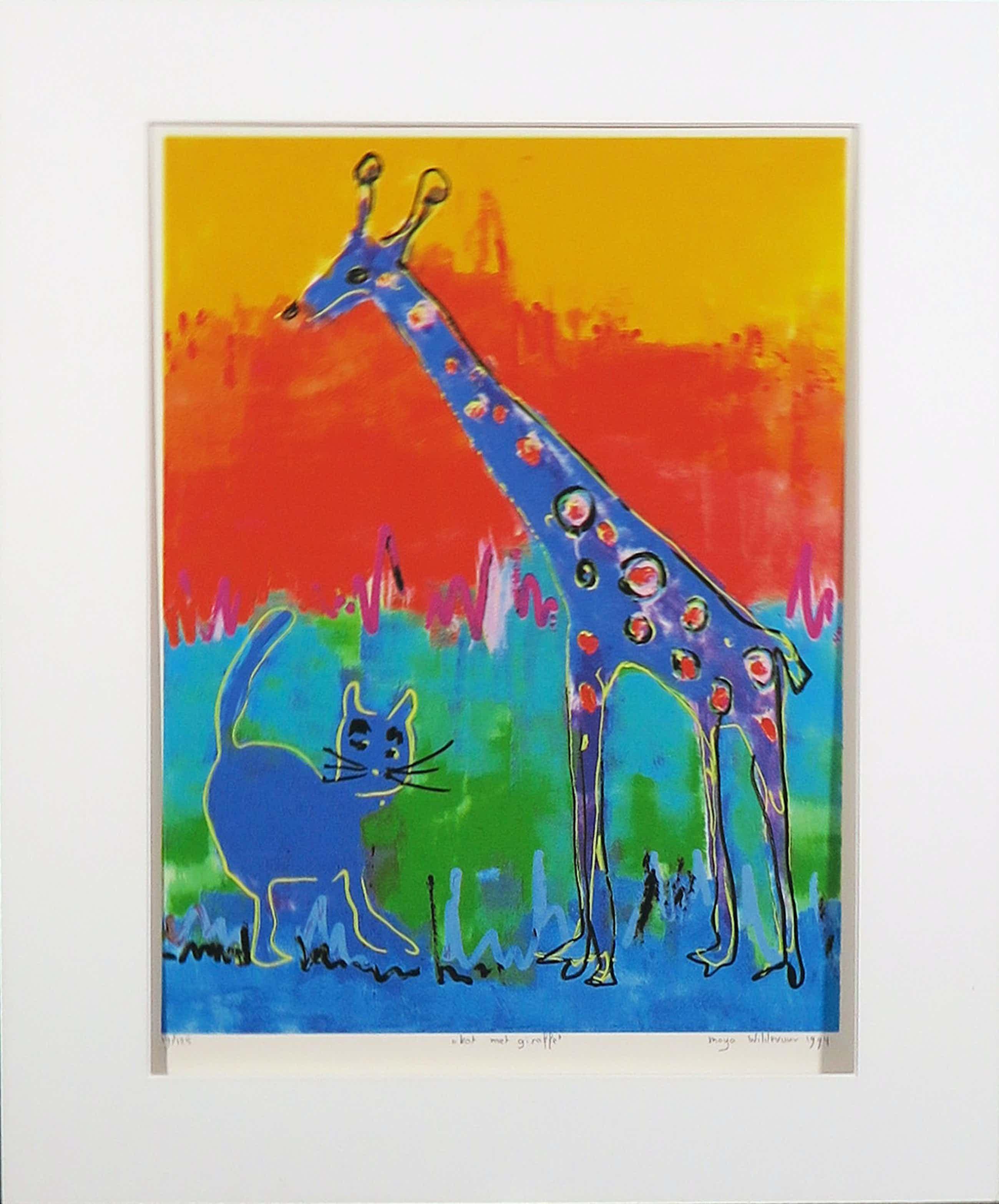 Maya Wildevuur - Zeefdruk, Kat met giraffe kopen? Bied vanaf 70!