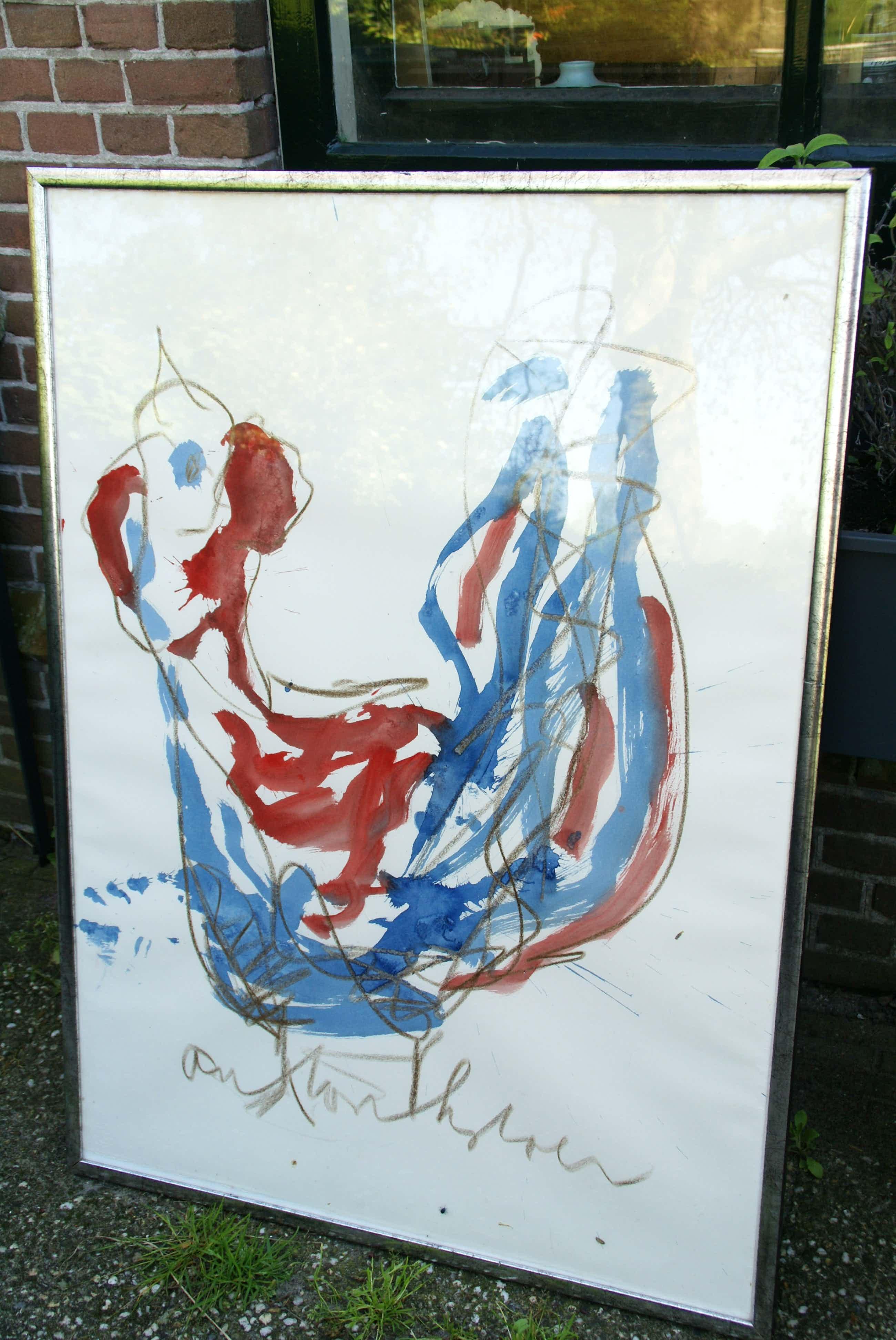 Anton Heyboer - Kip/vogel rood blauw kopen? Bied vanaf 310!