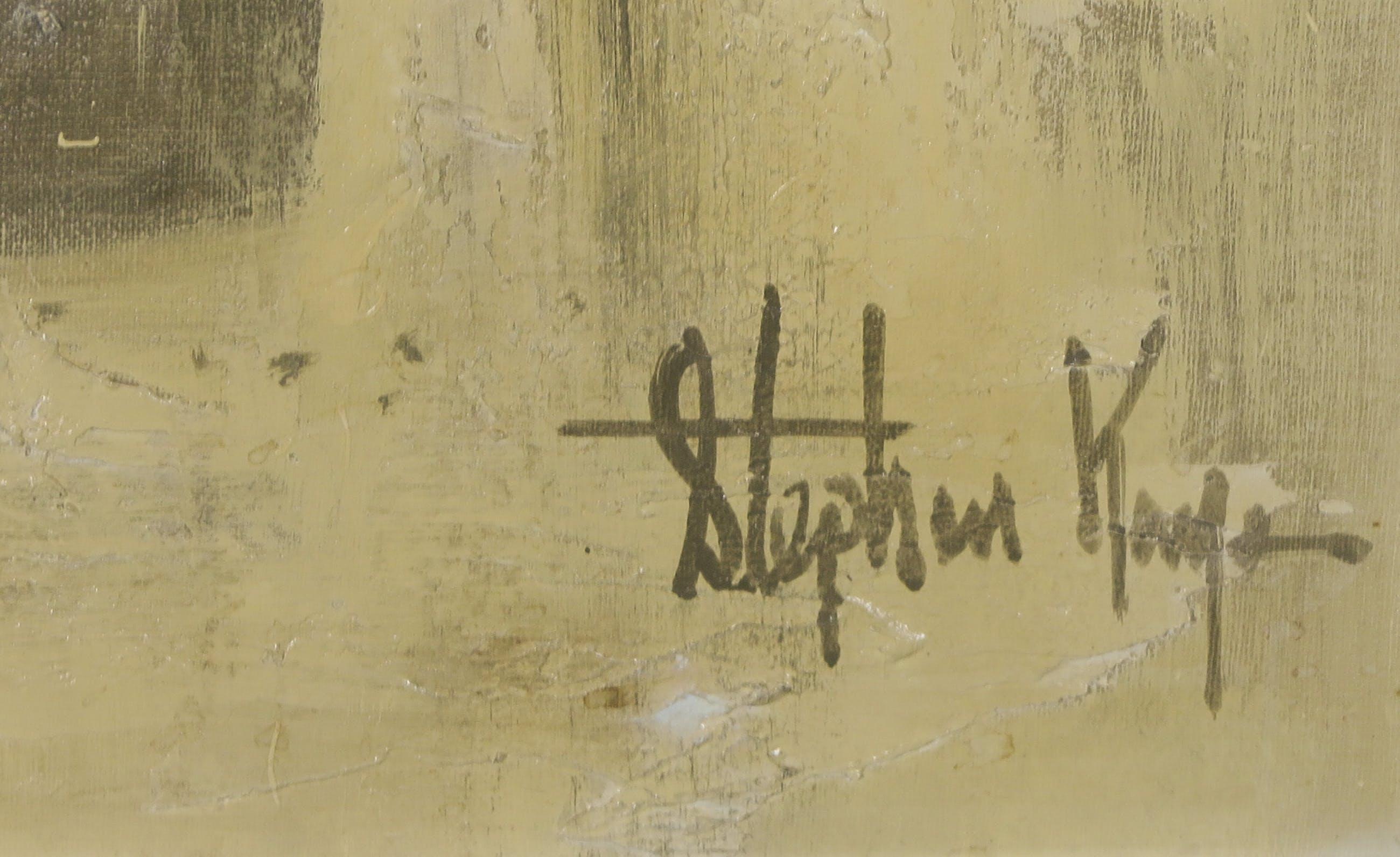 Stephen Kaye - Acryl op doek, Bloemstilleven in reliëf - Ingelijst (Groot) kopen? Bied vanaf 1!