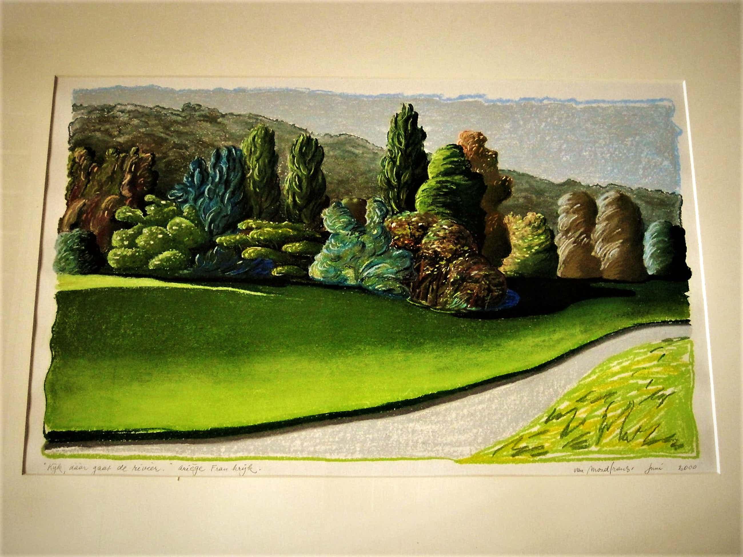 """Erna van Mondfrans - Magnifiek pointillistisch Pastel """"Landschap Arriege Frankrijk"""" gesigneerd - kopen? Bied vanaf 40!"""