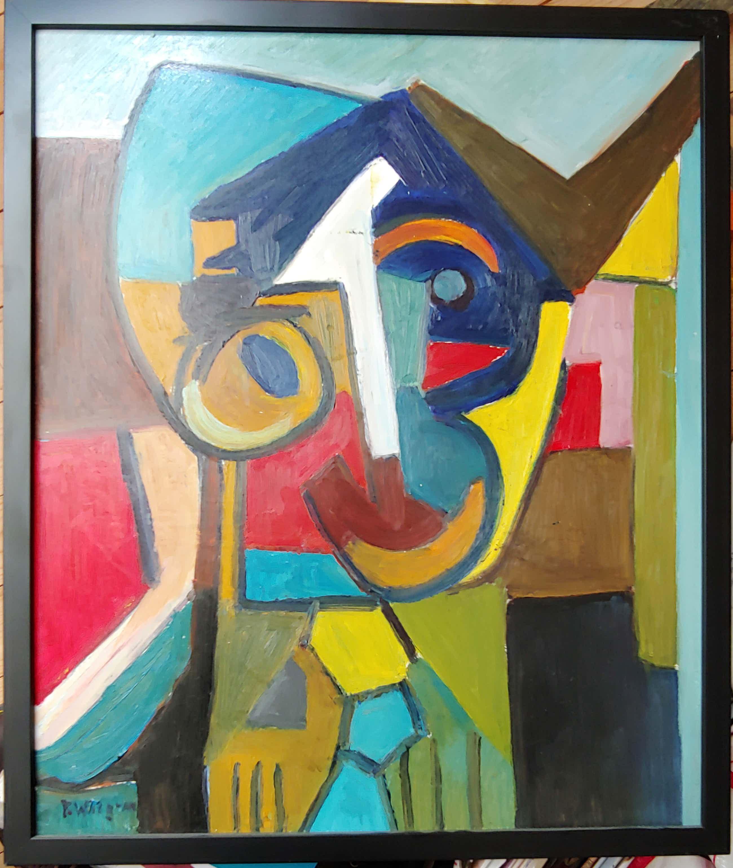 Piet Wiegman (II) - Kubistisch portret (ingelijst) kopen? Bied vanaf 360!