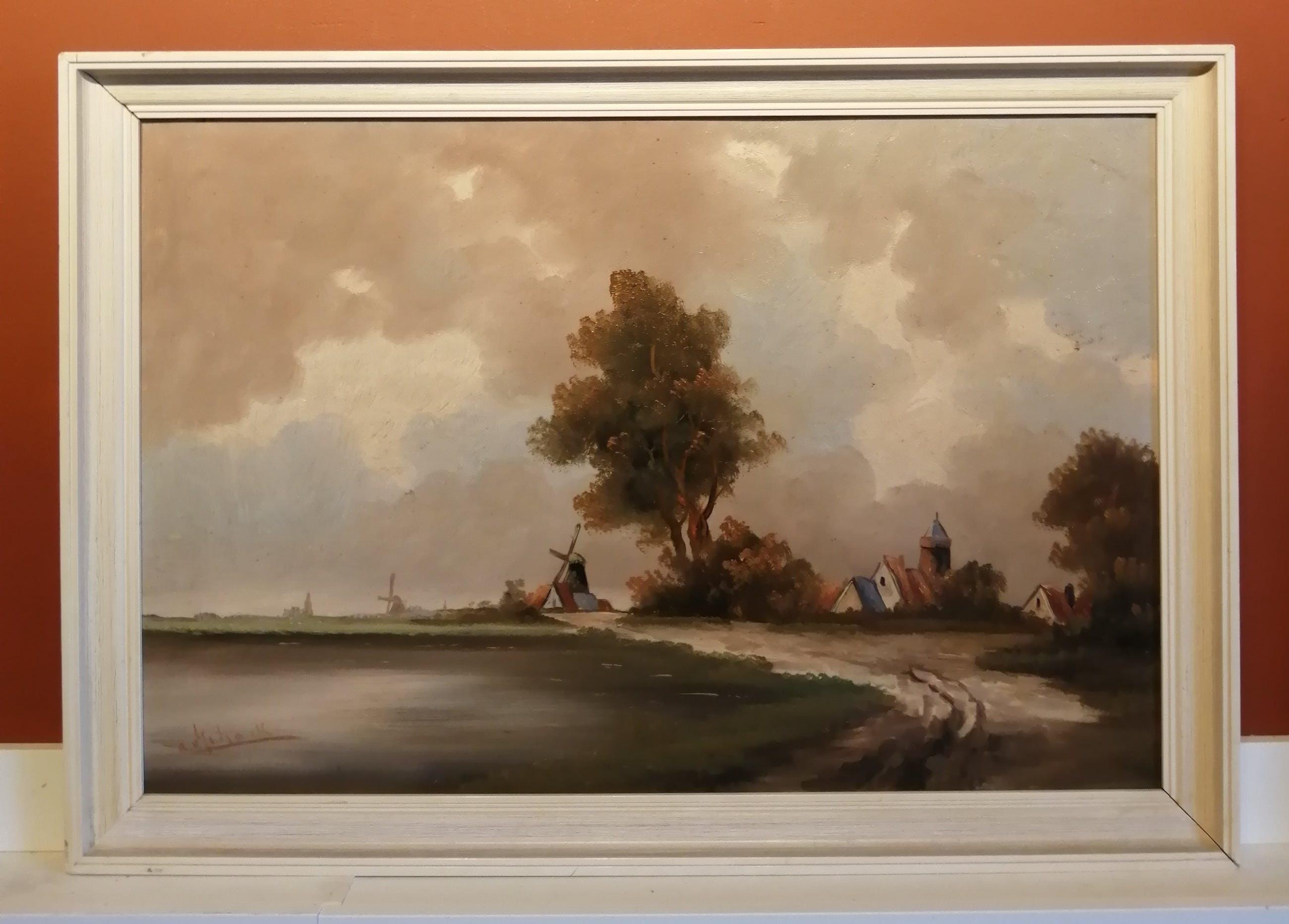 Niet of onleesbaar gesigneerd - Hollandse School (20e eeuw) - van Schaik??? - Dorp aan het water kopen? Bied vanaf 1!