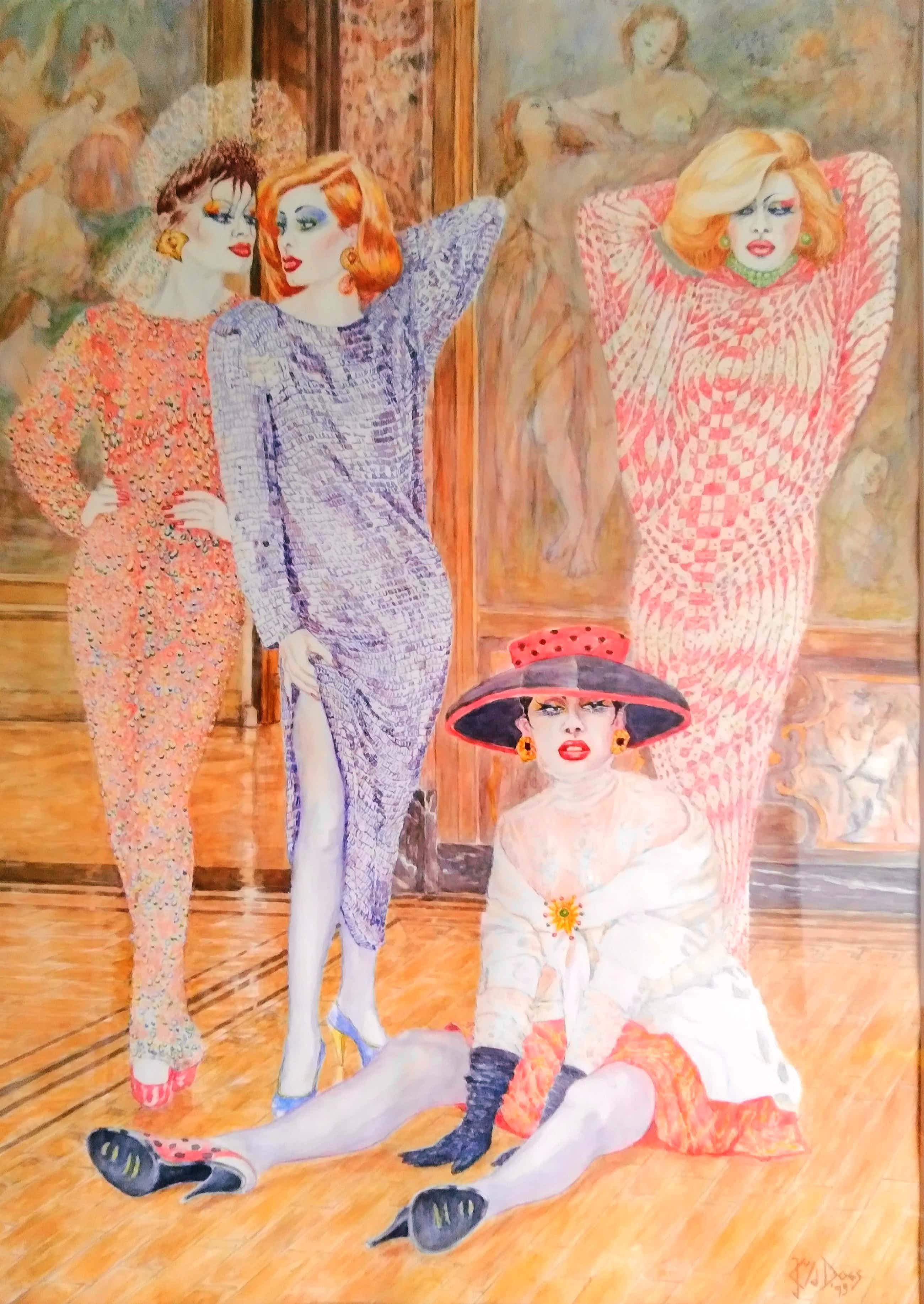 Niet of onleesbaar gesigneerd - knipoog naar de jaren '80, aquarel kopen? Bied vanaf 200!