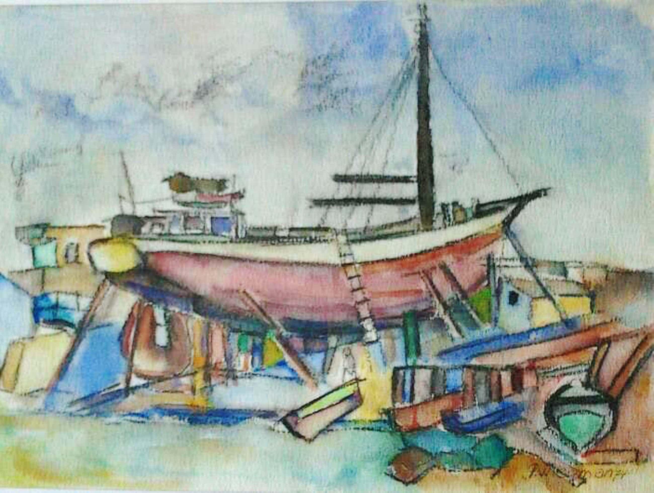 """Piet Wiegman (II) - """" Boot in dok """" kopen? Bied vanaf 80!"""