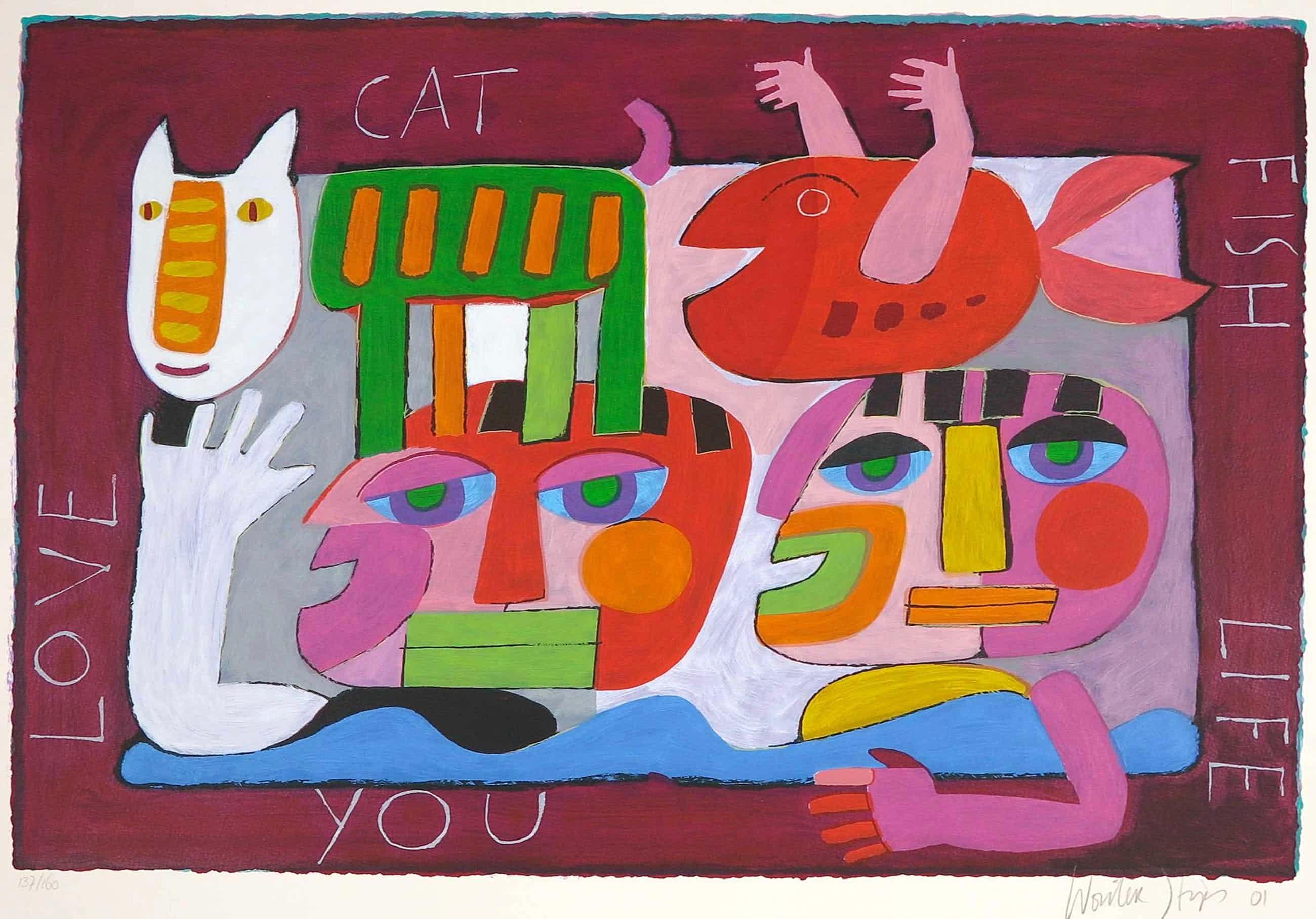 Wouter Stips - Zeefdruk, Love Cat Fish Life You kopen? Bied vanaf 45!