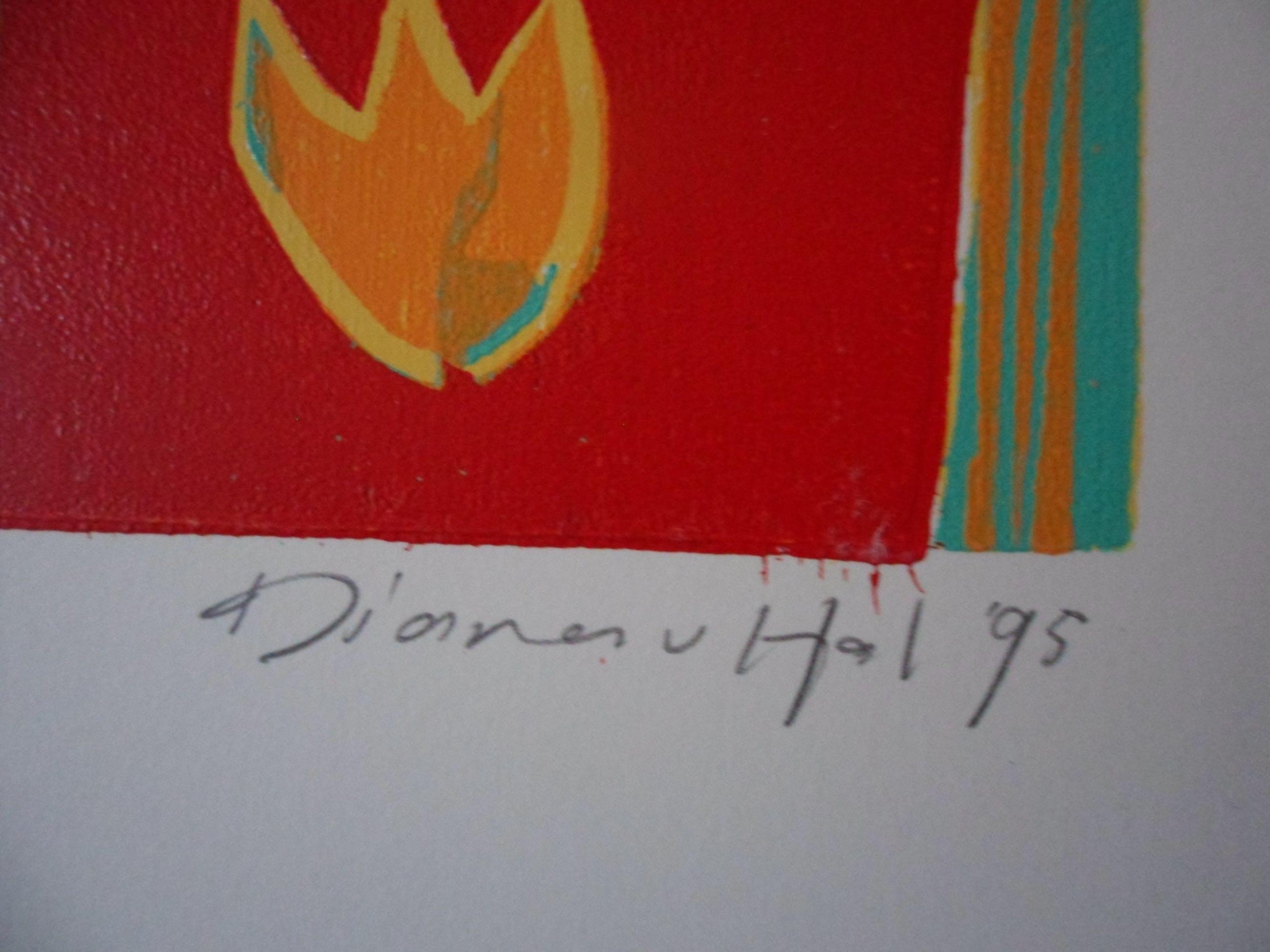 Diana van Hal - gesigneerde linosnede - Onderweg kopen? Bied vanaf 30!