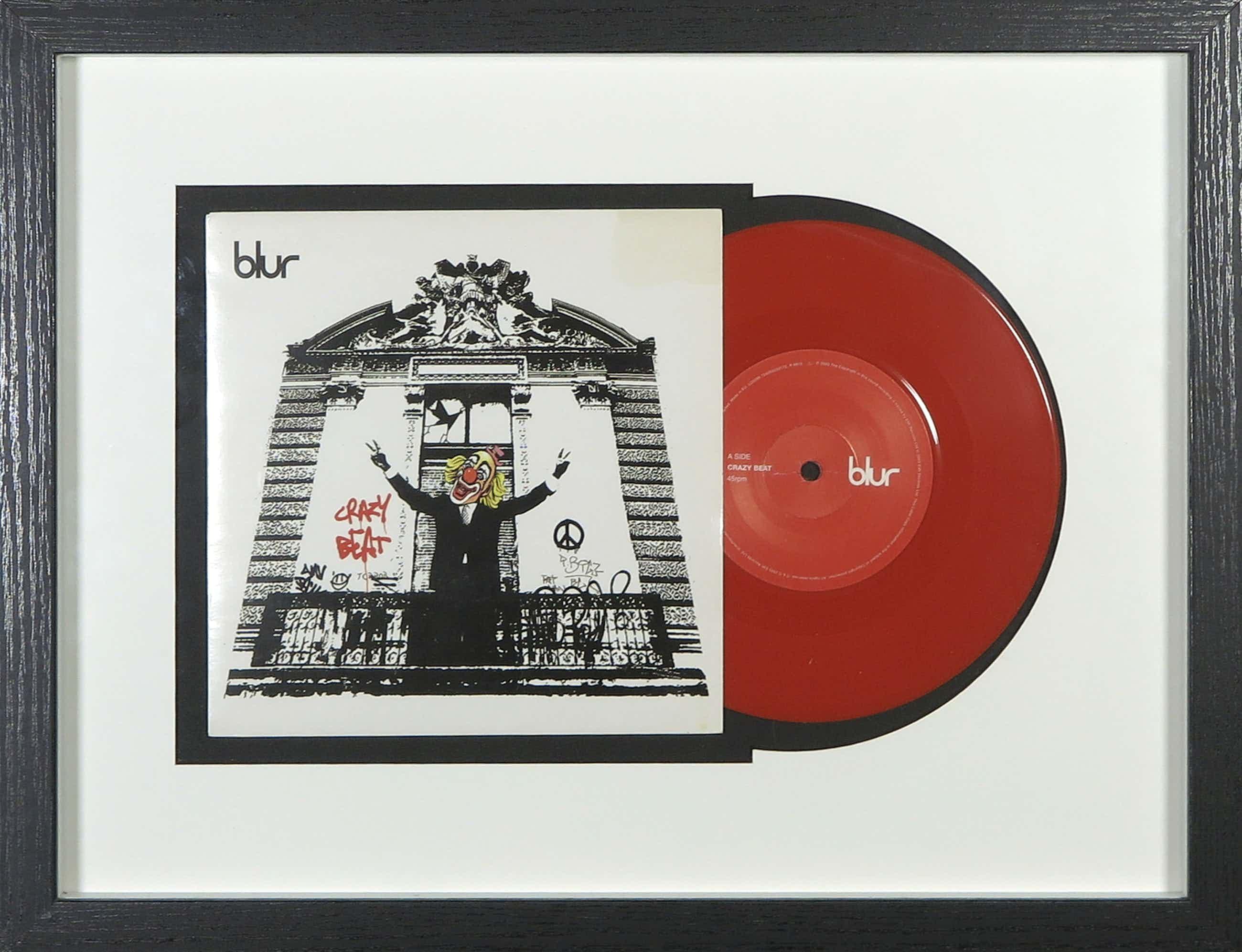 Banksy - Single van Blur met hoesontwerp van Banksy - Crazy Beat - Ingelijst kopen? Bied vanaf 445!