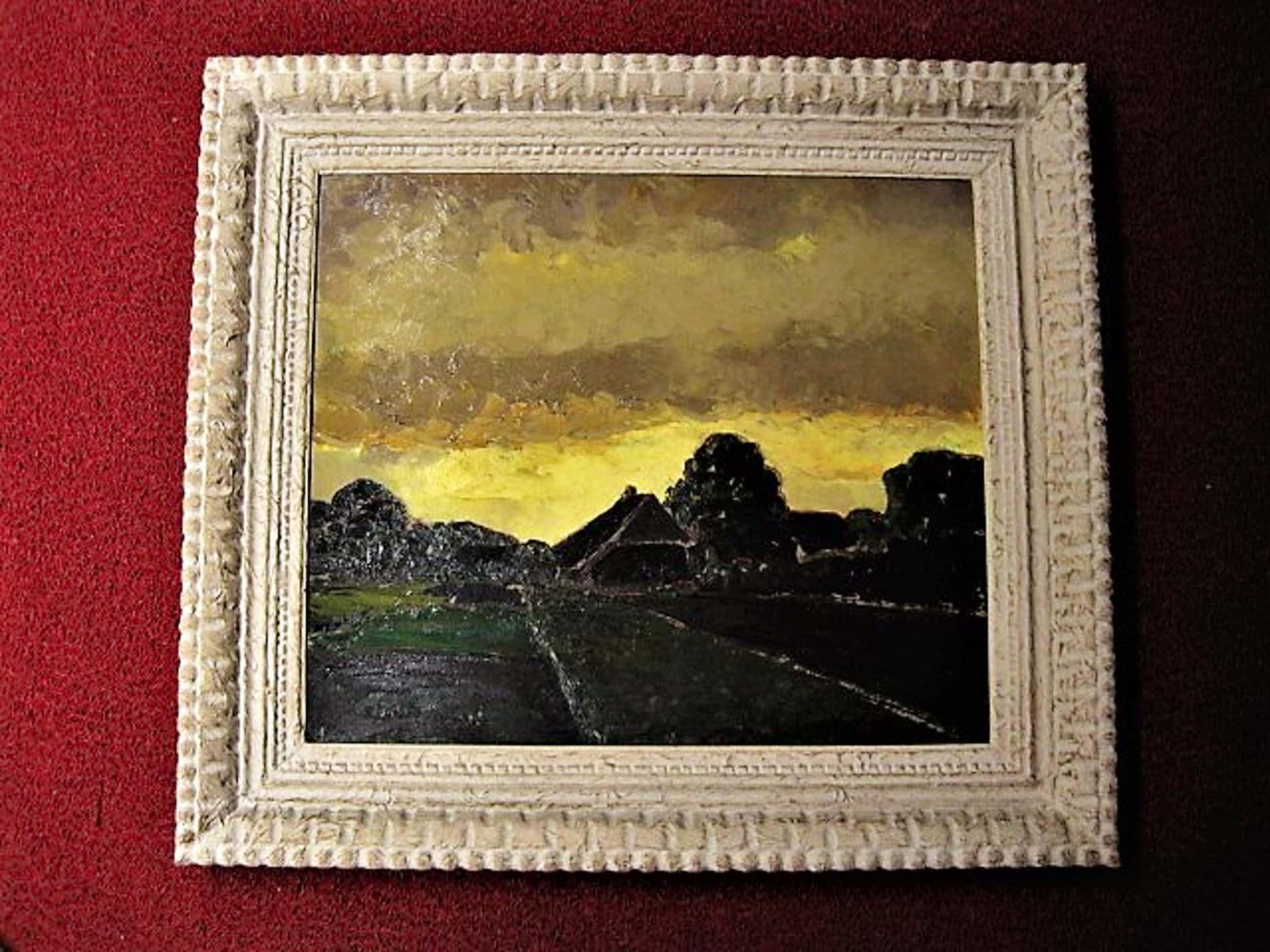 """John ter Reehorst - Fascinerend en groot olieverf """"Polderlandschap bij invallende avond"""" 1941 gesign kopen? Bied vanaf 160!"""