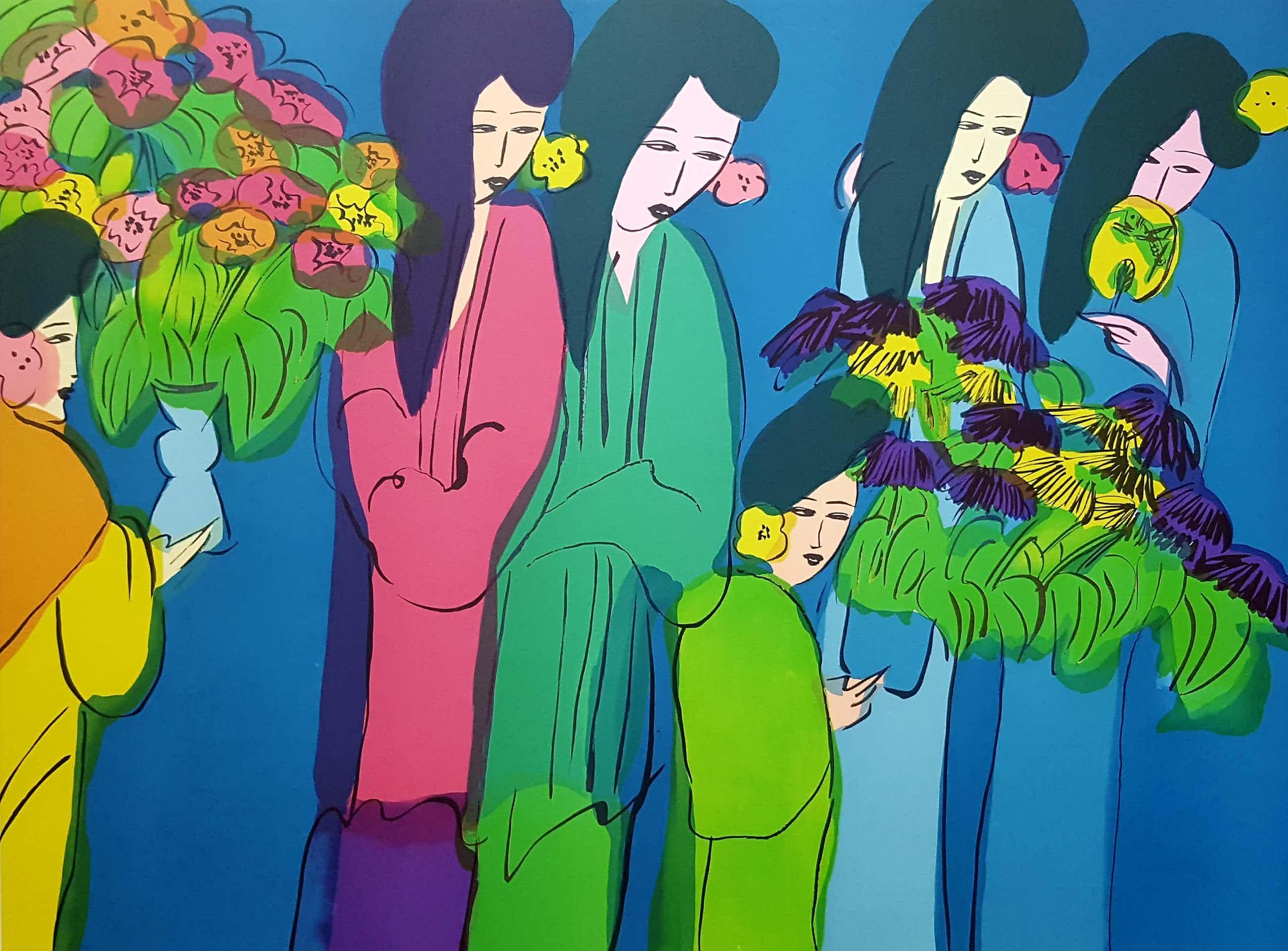 """Walasse Ting - Kleurrijke grote Lithografie uit 1982 """"Six geisha's with flowers"""" kopen? Bied vanaf 395!"""