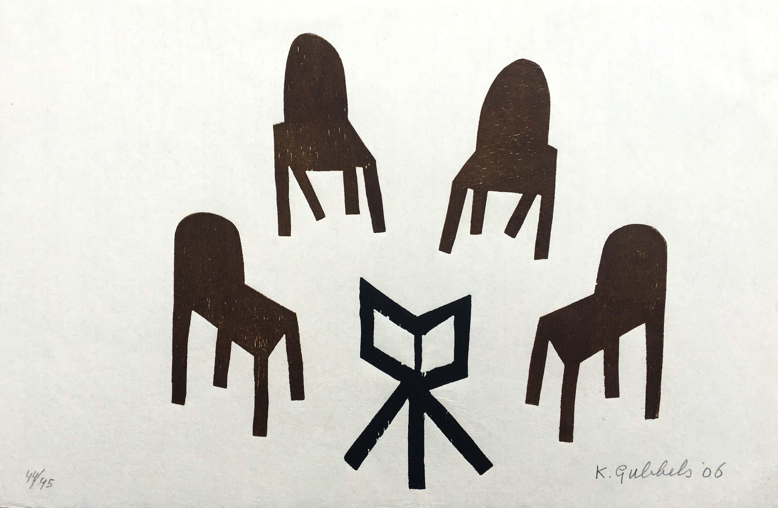 Klaas Gubbels - houtdruk op geschept papier - 'Hongaars Kwartet' - 2006 kopen? Bied vanaf 375!