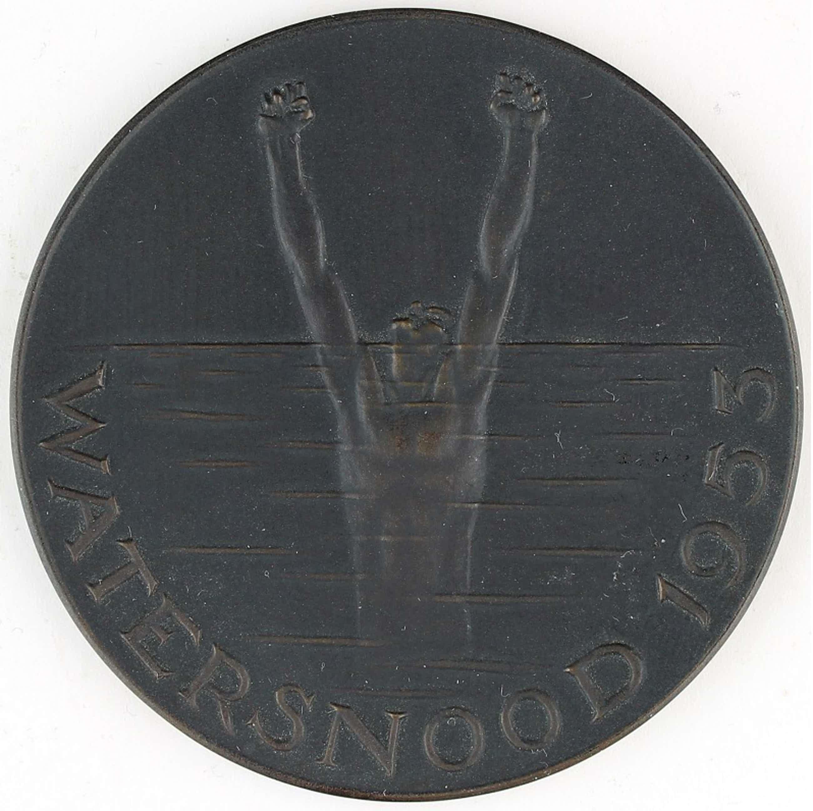 Oswald Wenckebach - Bronzen penning: Watersnood, 1953 kopen? Bied vanaf 60!