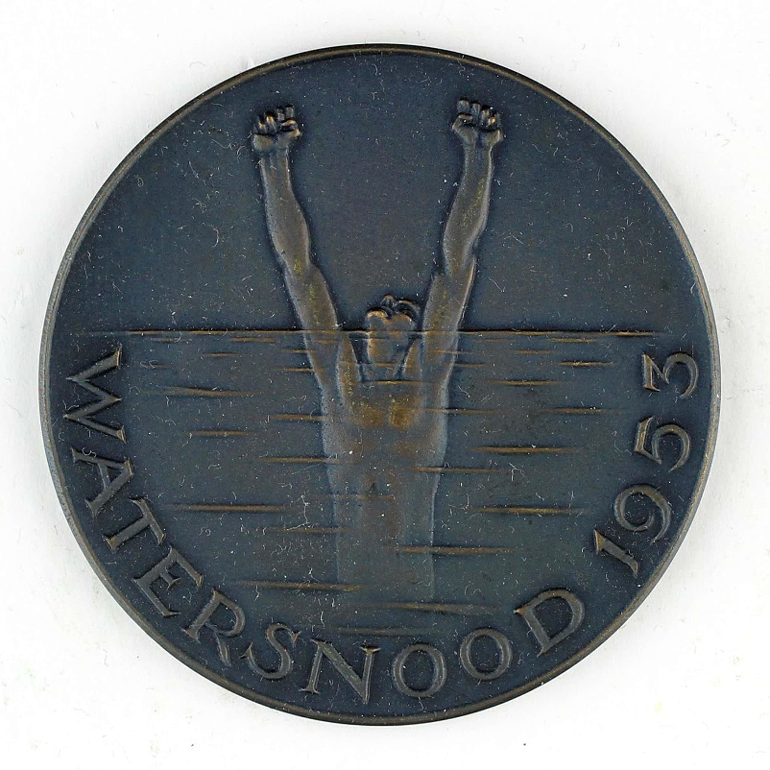 Oswald Wenckebach - Bronzen penning: Watersnood, 1953 kopen? Bied vanaf 50!