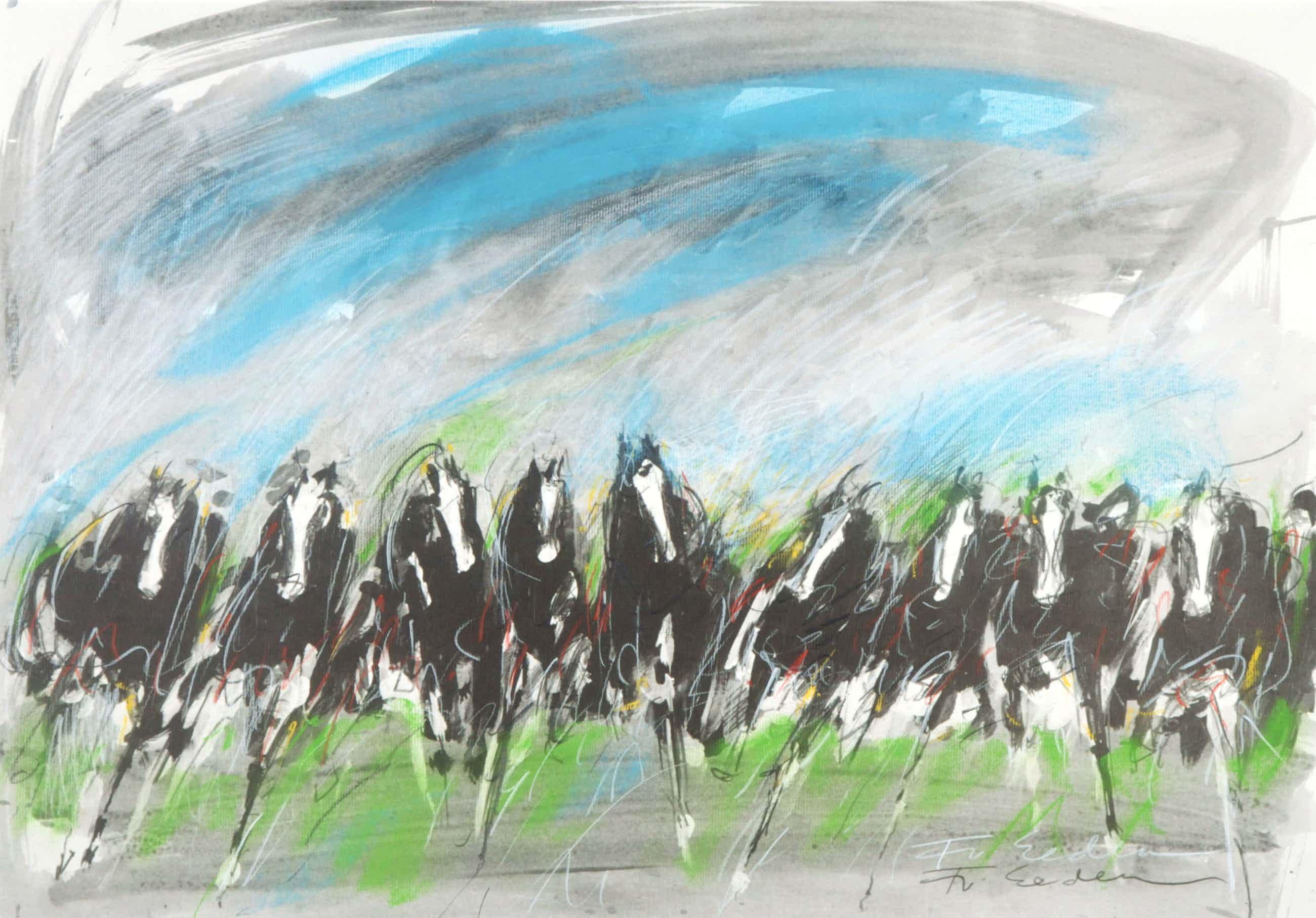 Frits van Eeden - Gemengde techniek, o.a. krijt, Paarden kopen? Bied vanaf 50!
