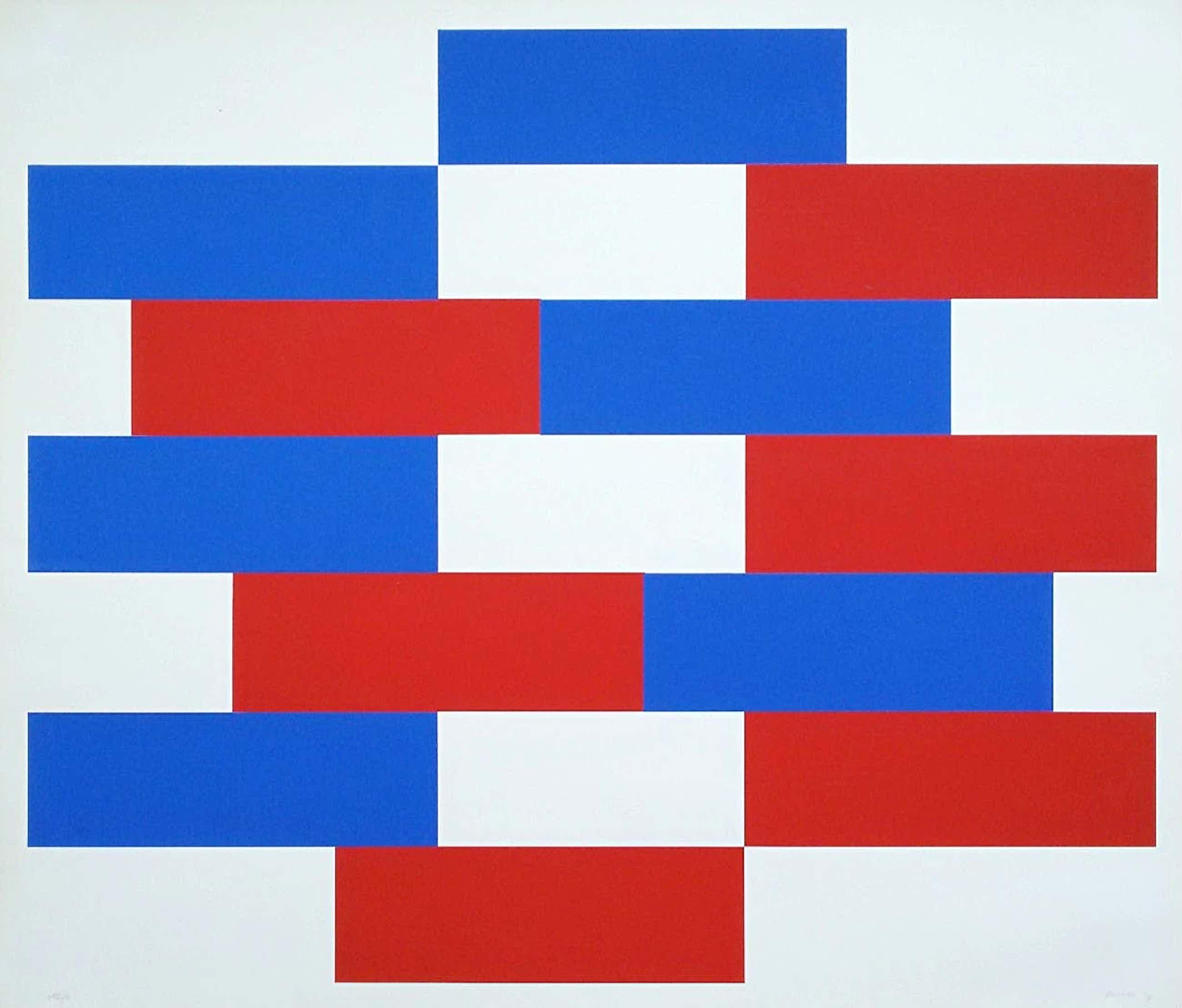 Bob Bonies - Geometrisch abstracte compositie, zeefdruk kopen? Bied vanaf 70!