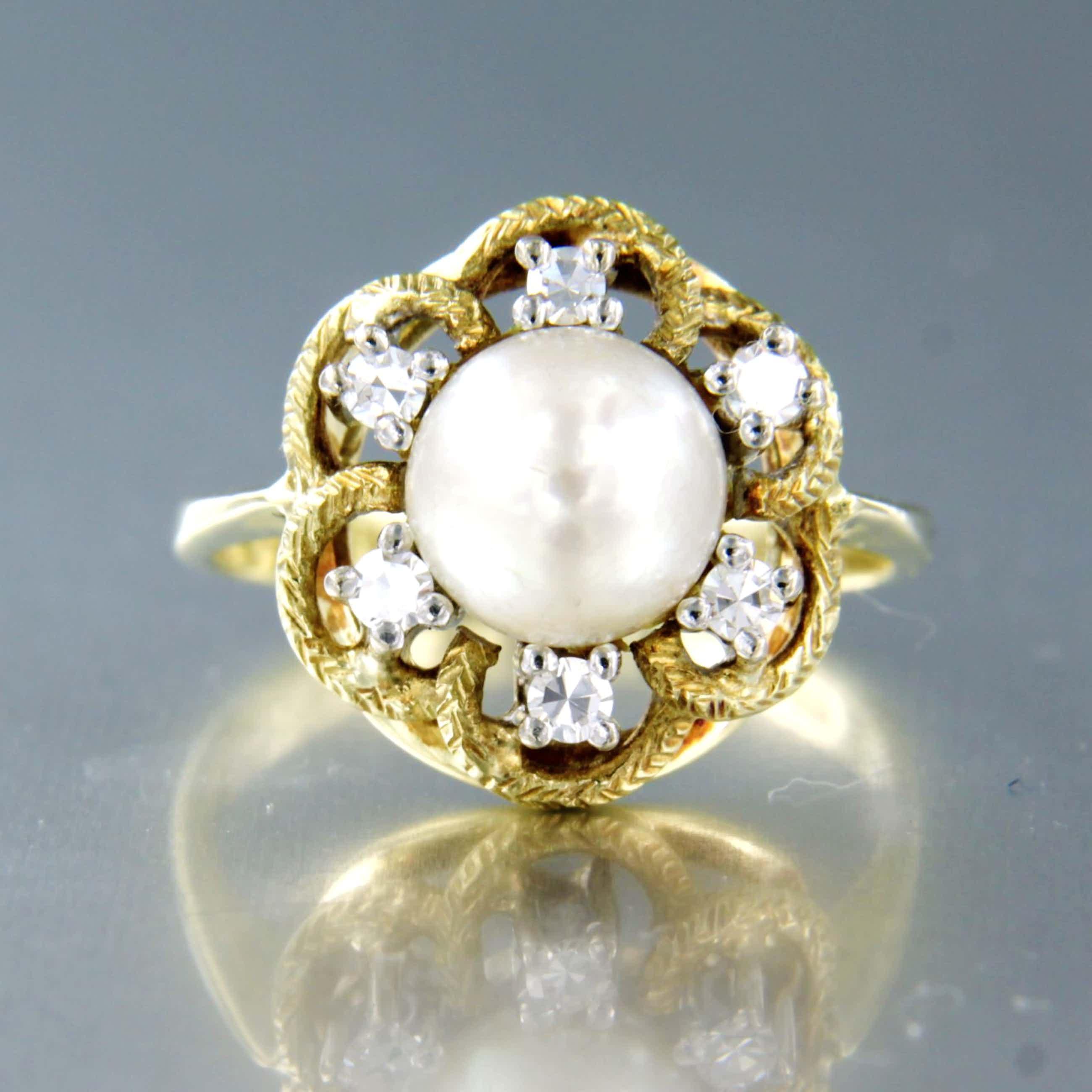 14K Goud - bicolor gouden ring bezet met een parel en 8 kant geslepen diamanten kopen? Bied vanaf 260!