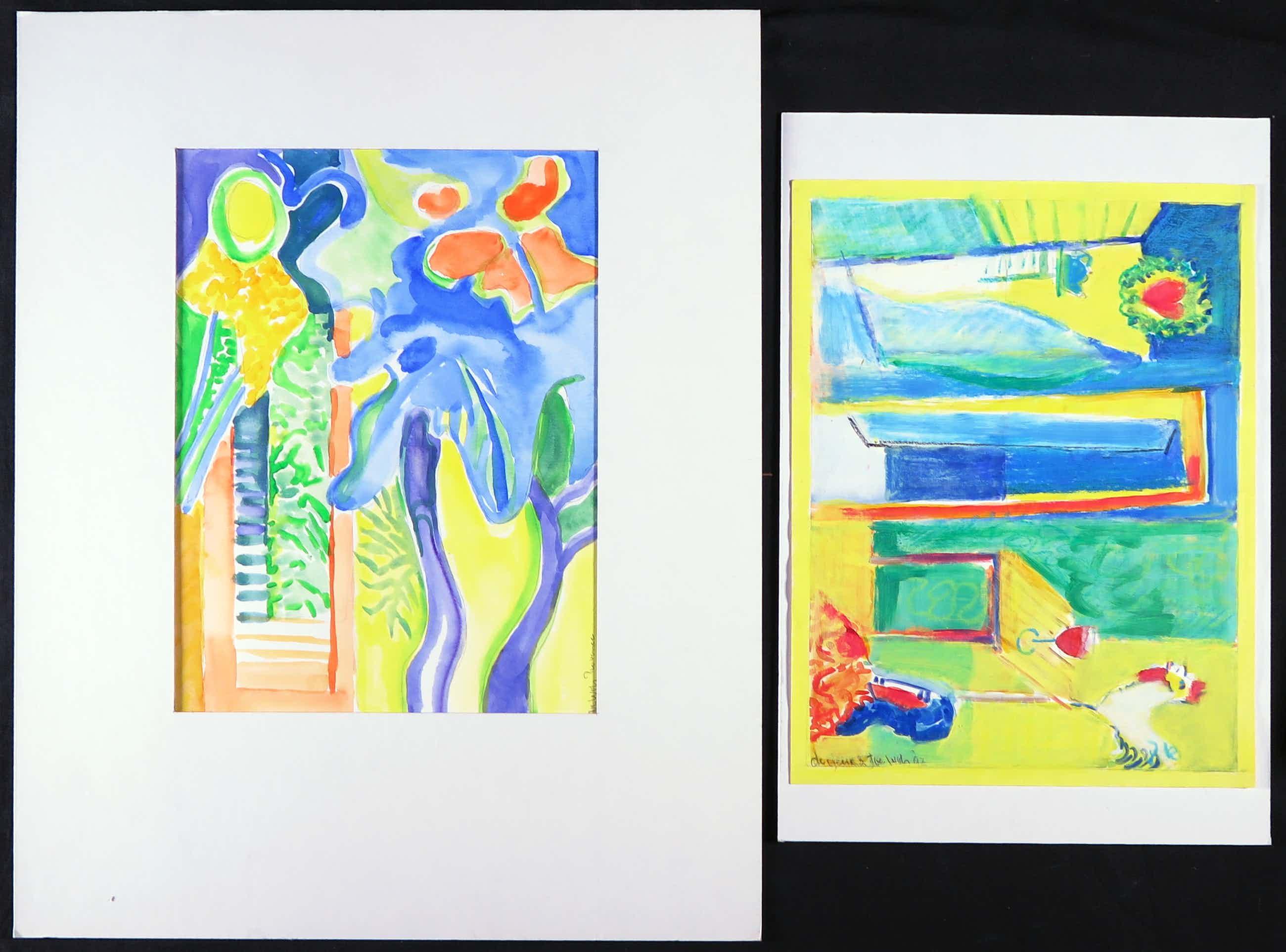 Joe Wols - Lot van twee werken met gemengde techniek op papier, De Deur en Provance kopen? Bied vanaf 1!