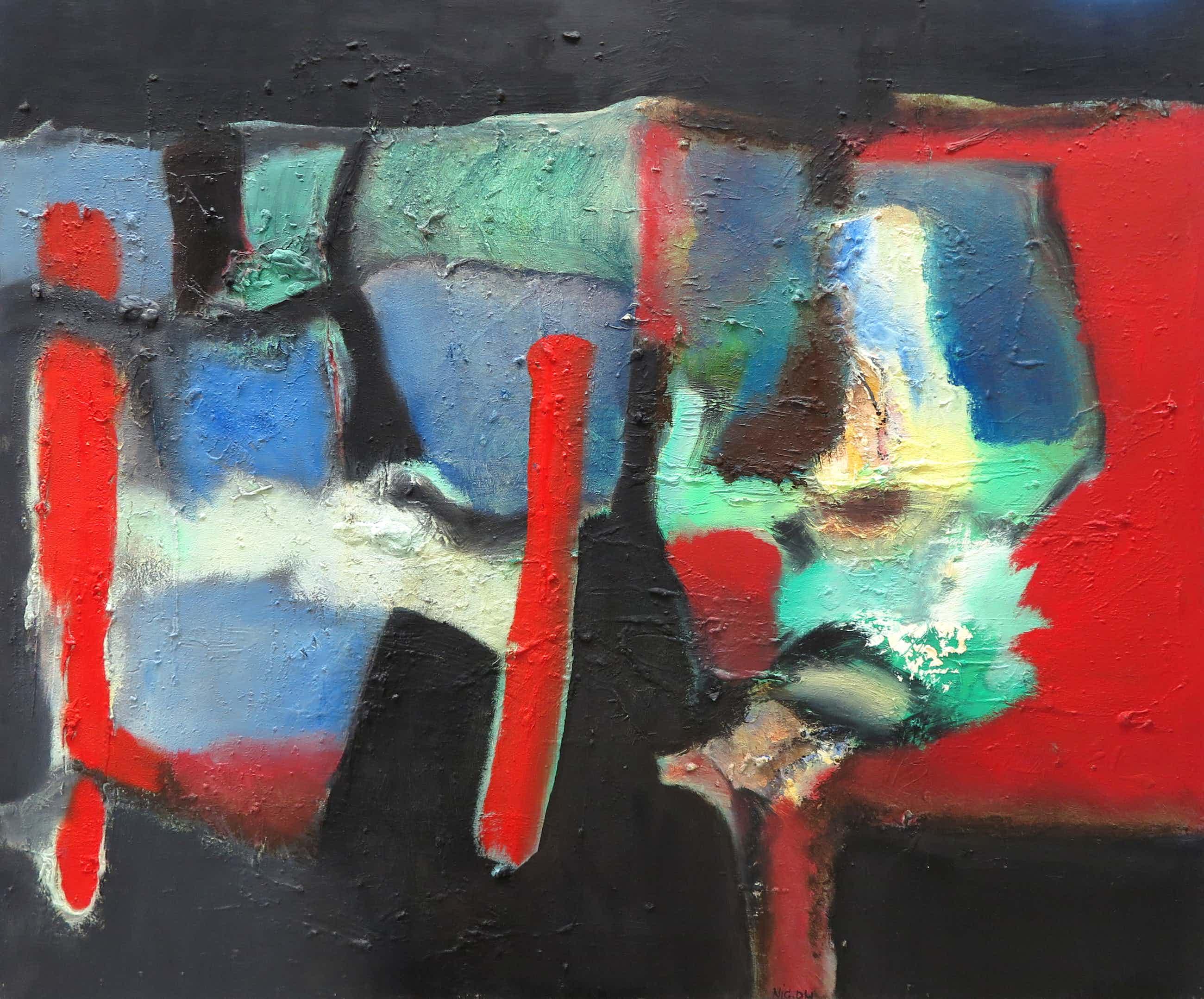 Frans Nicolai - Olieverf op doek, Abstracte compositie - Ingelijst kopen? Bied vanaf 125!