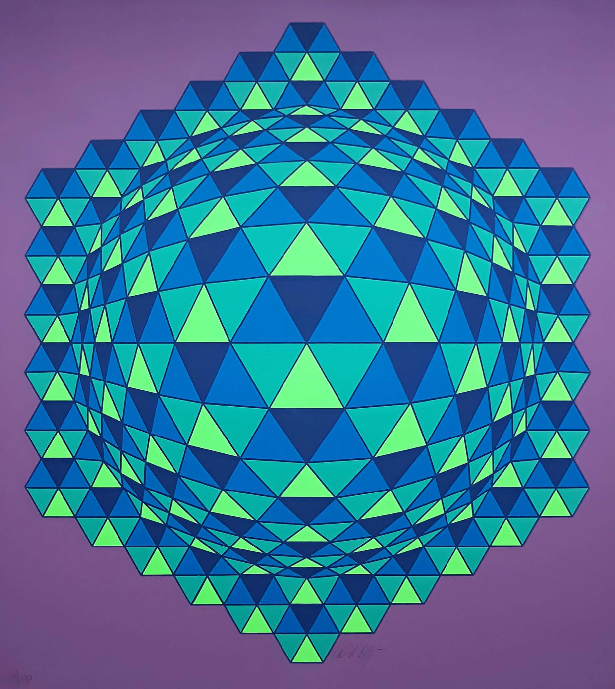 Victor Vasarely - Geometrisch abstracte compositie, zeefdruk (ingelijst) kopen? Bied vanaf 385!
