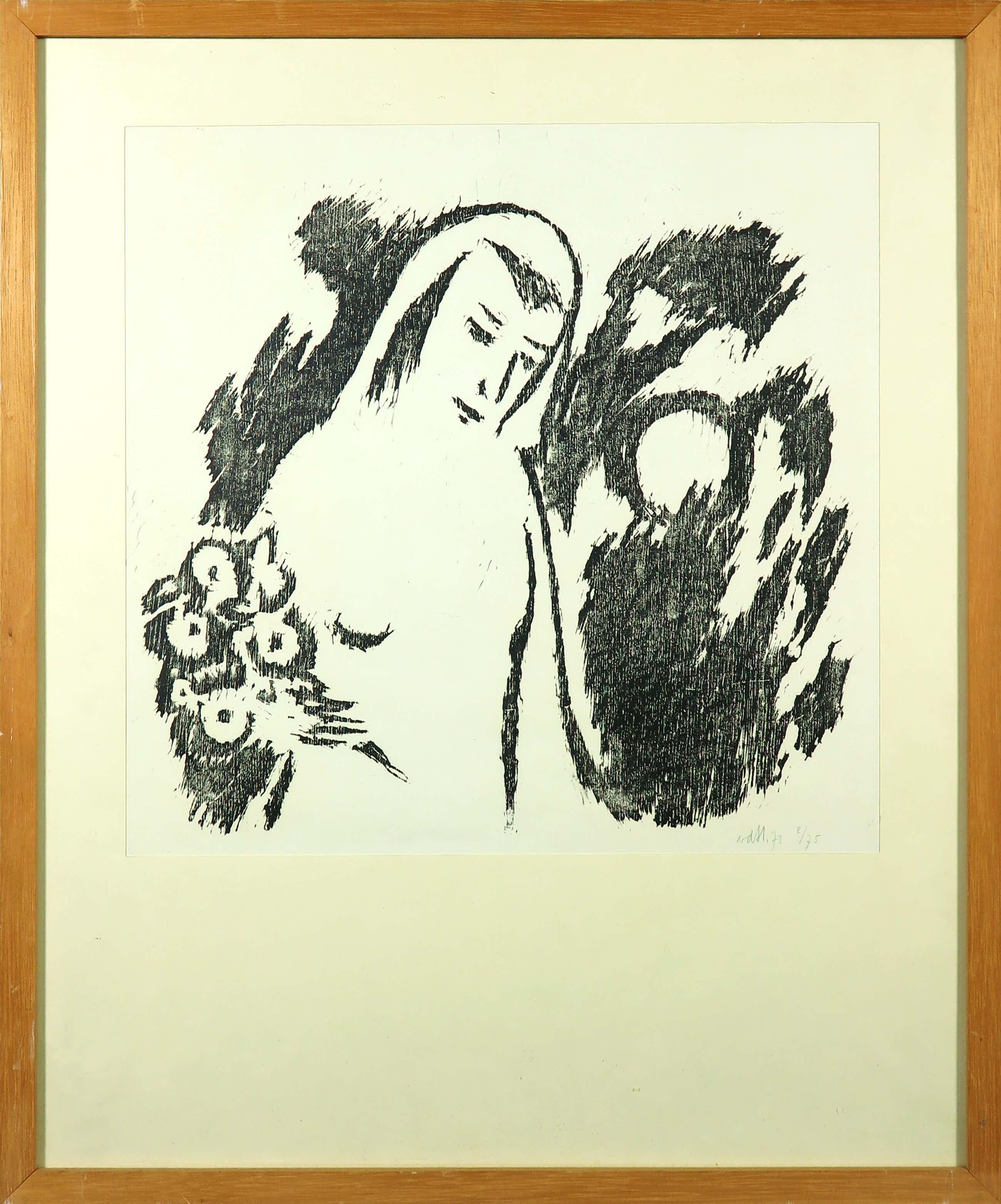 Theo van der Horst - Houtsnede, Vrouw met bloemen - Ingelijst kopen? Bied vanaf 35!