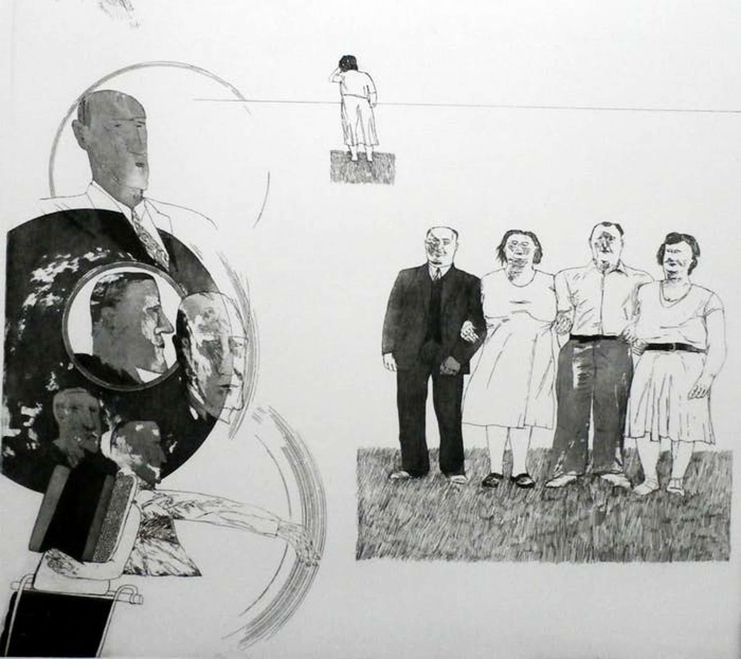 Kees Spermon - Ets/aquatint: Family scene I - 1970 kopen? Bied vanaf 50!
