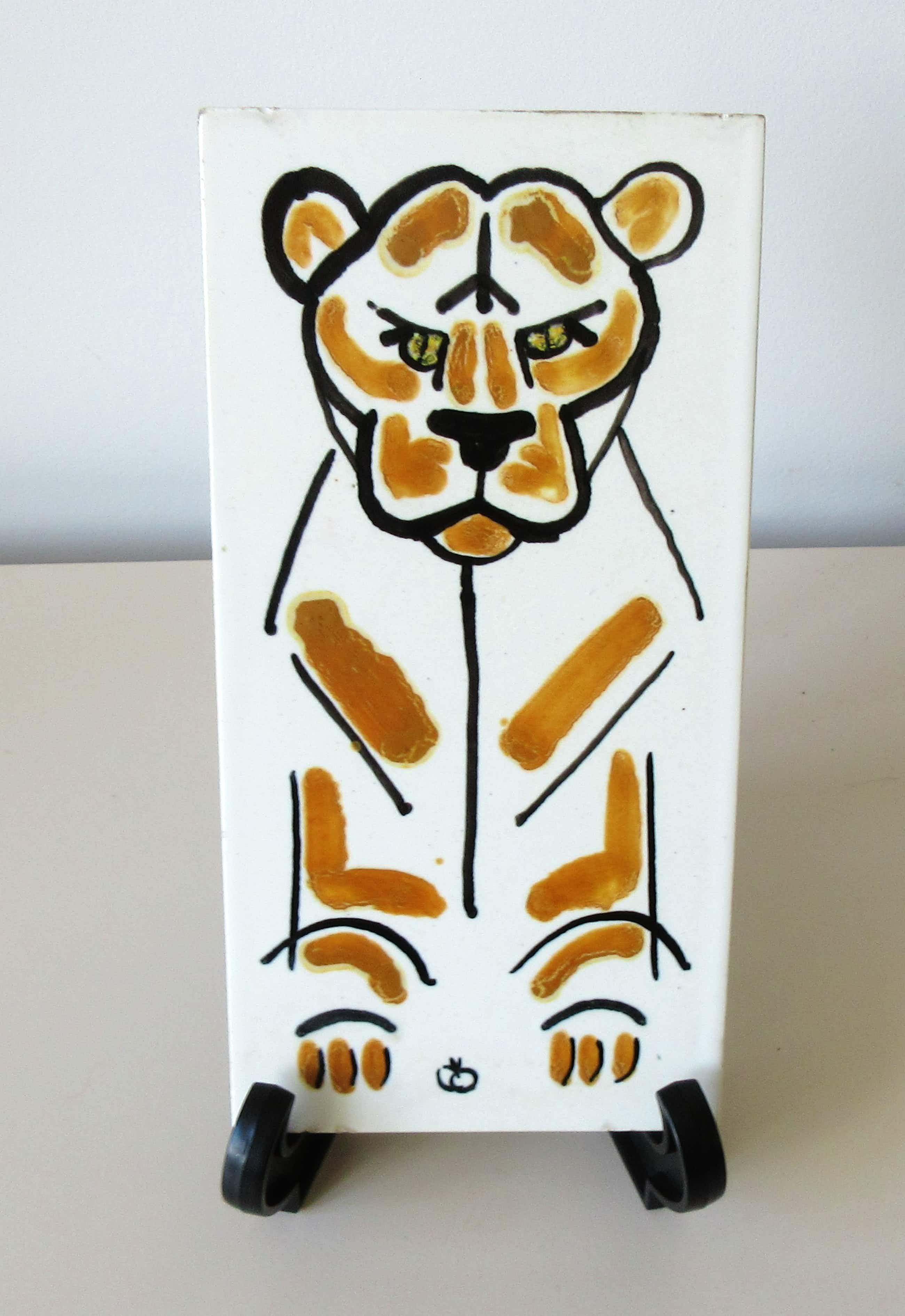 Vallauris Keramiek - Kunst aardewerken tegel gestileerde tijger - gesigneerd kopen? Bied vanaf 5!