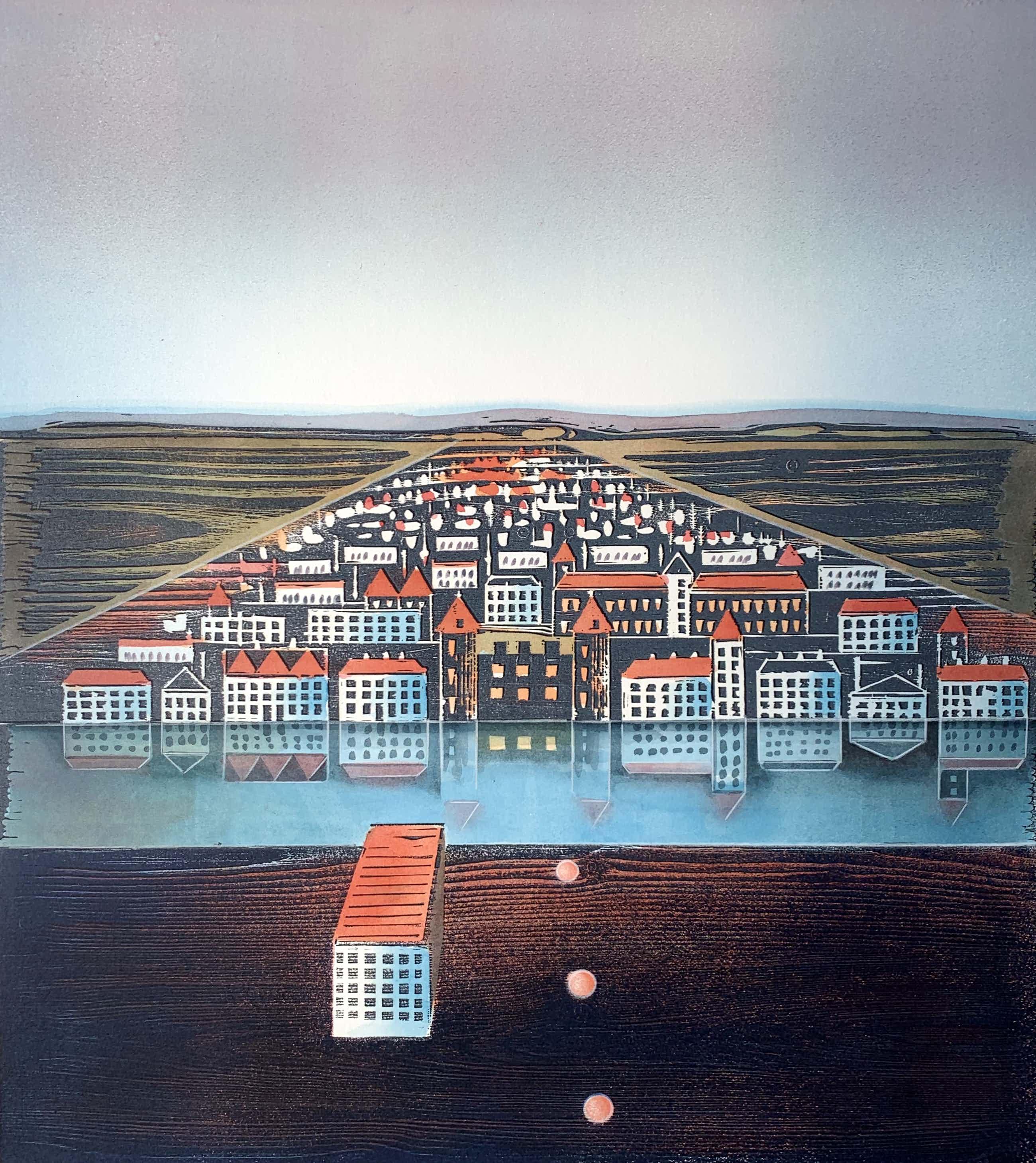 Willem de Vries - Houtsnede | 'Town-centre III' | 1999 kopen? Bied vanaf 75!