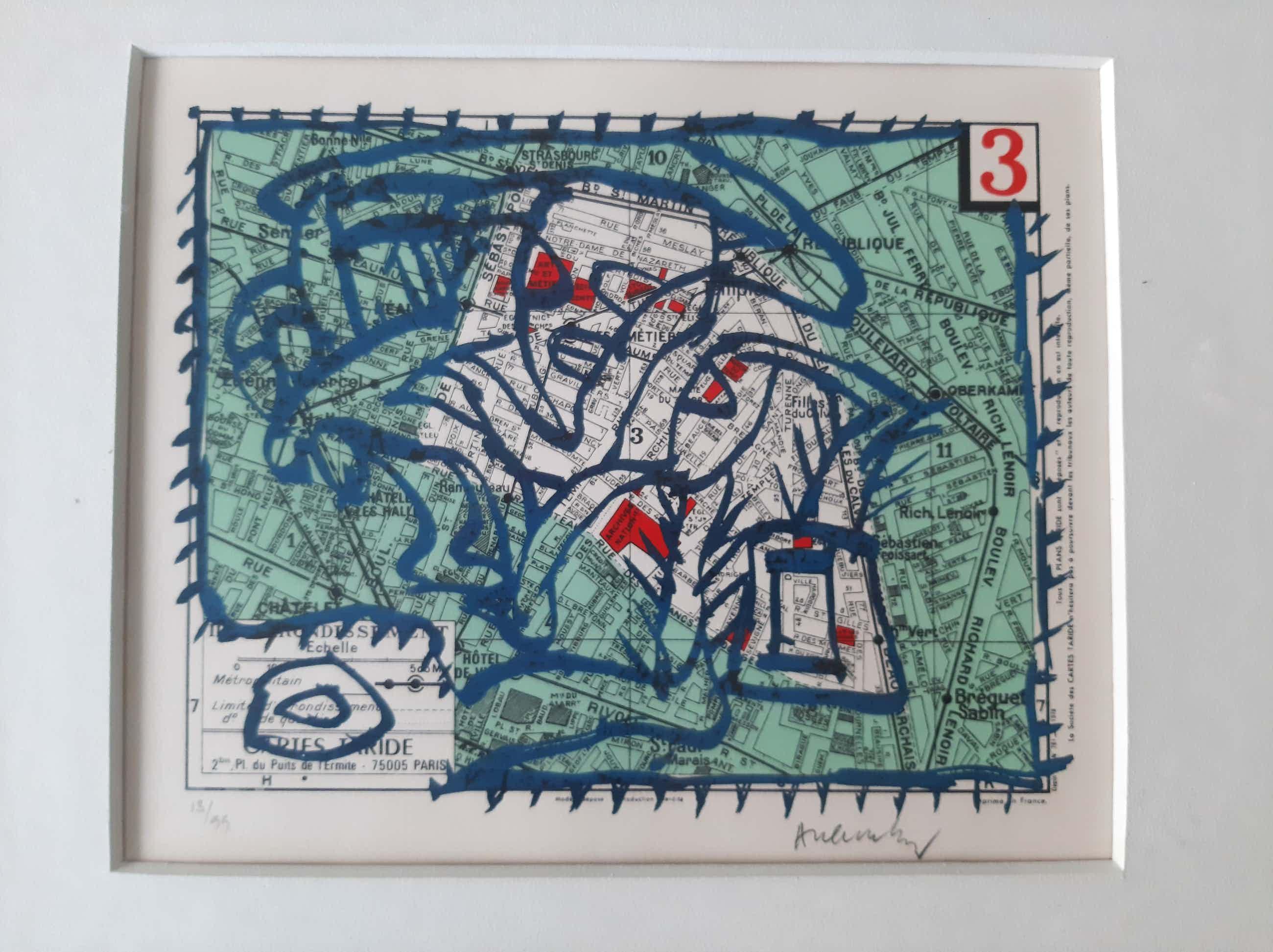 Pierre Alechinsky - Paris, Arrondissement 3 - ingelijste litho - 1983 - oplage 99 kopen? Bied vanaf 600!