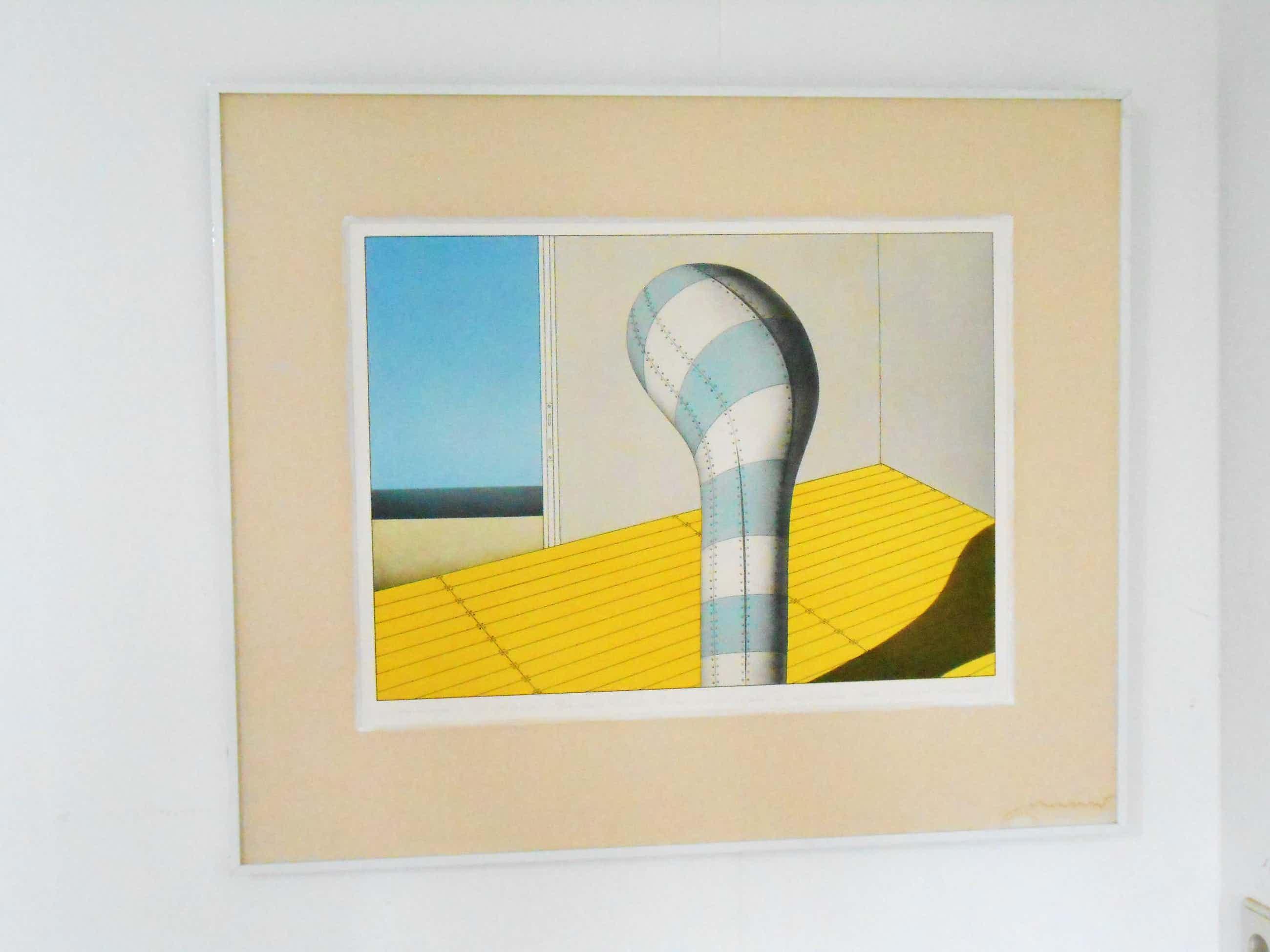 Marinus Fuit - ( Hommage a de Chirico) blauw-wit object in interieur. kopen? Bied vanaf 35!