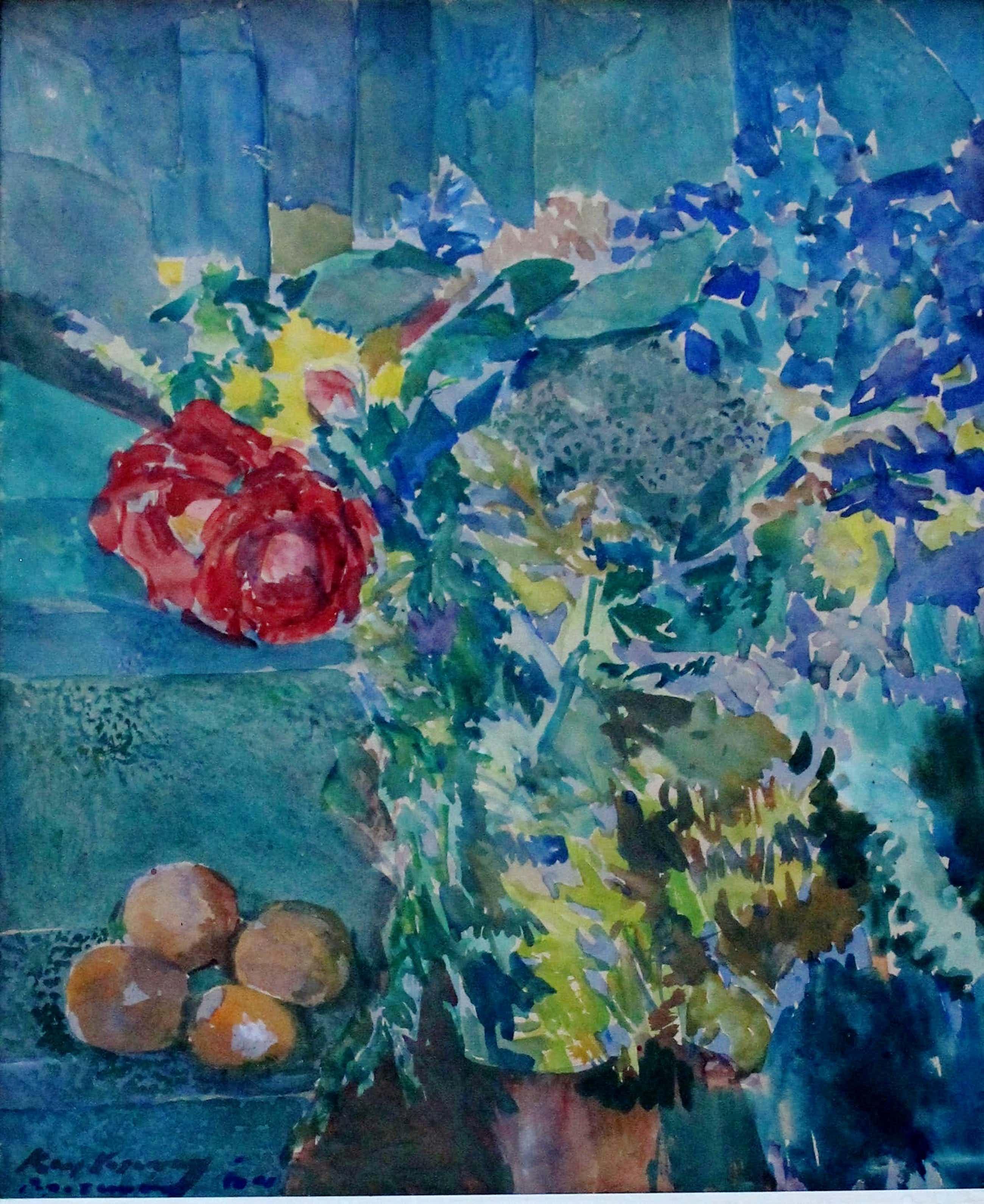 Kees Verwey - aquarel: bloemstilleven (herkomst: kunsthandel M.L. de Boer, Amsterdam) kopen? Bied vanaf 1550!