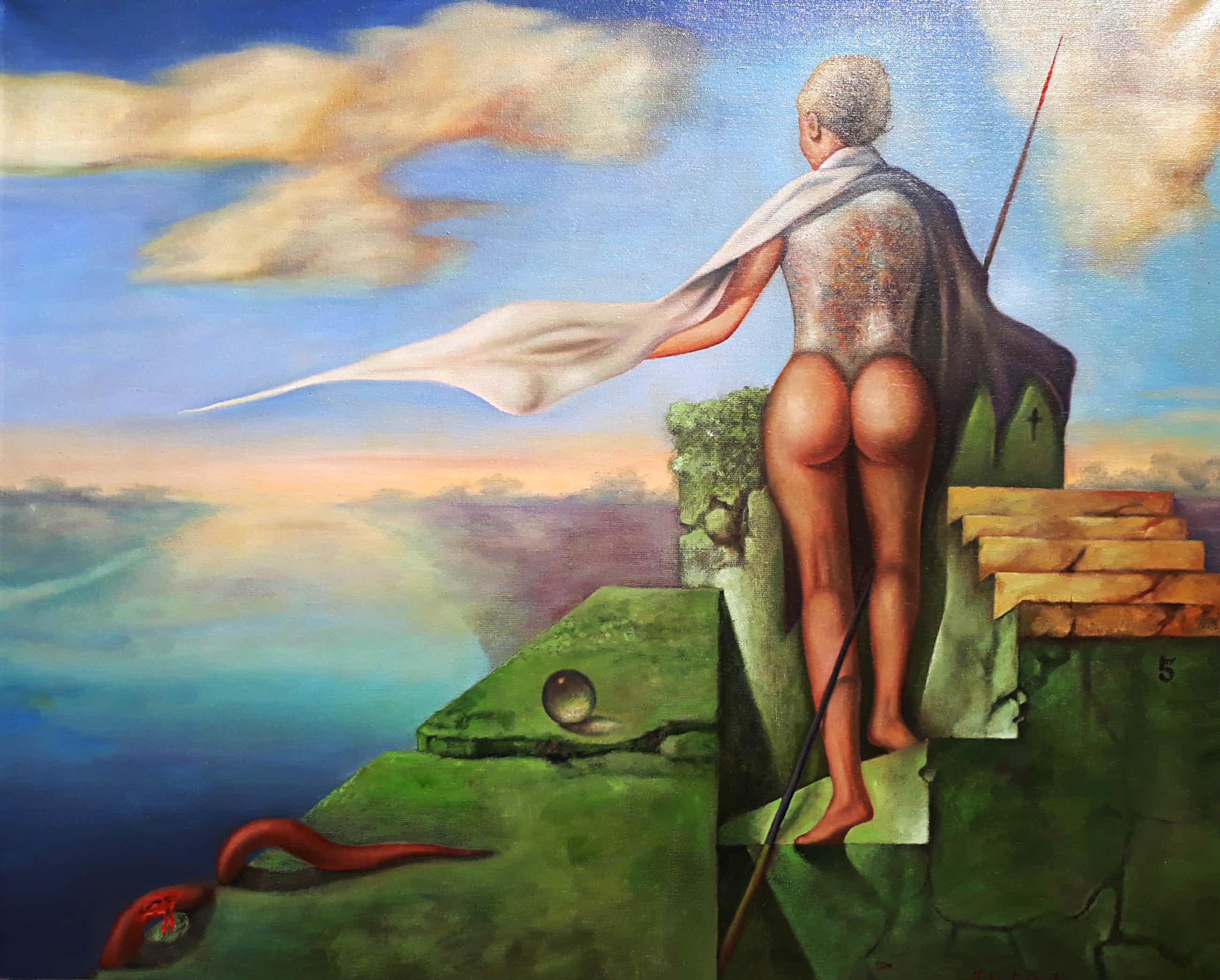 Johannes Garst - Surrealistisch naakt, olieverf op doek (ingelijst, groot) kopen? Bied vanaf 250!