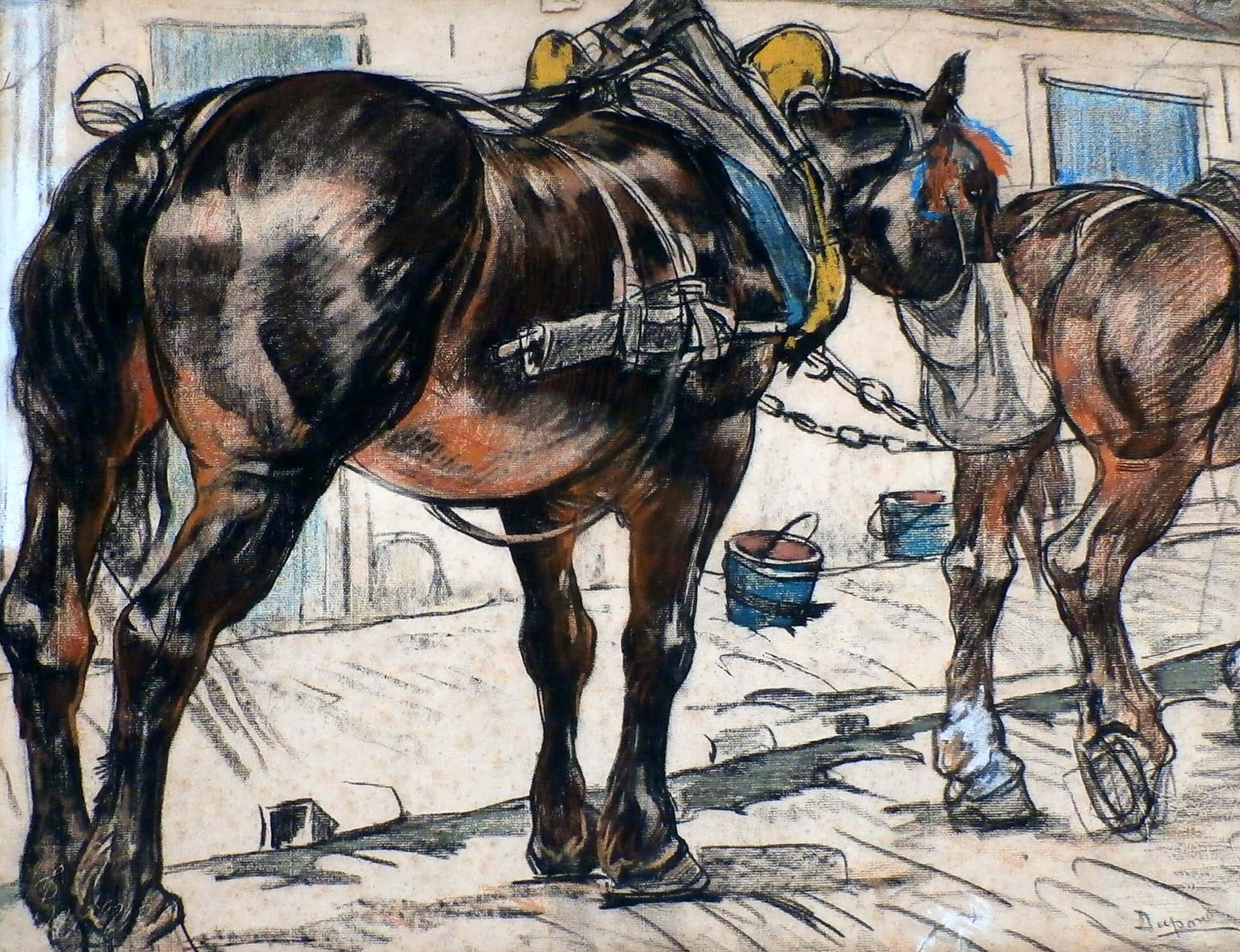 Pieter Dupont - kleurkrijt: rustende trekpaarden kopen? Bied vanaf 720!
