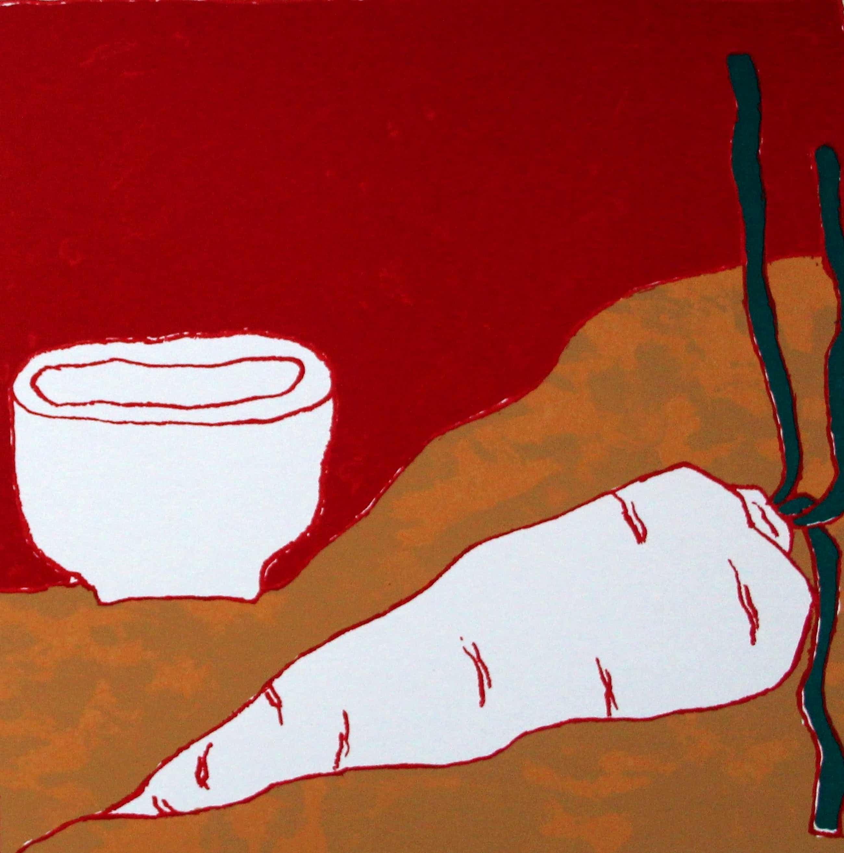 Mark Brusse - Zeefdruk: About base, met gedicht, van Makoto Ooka - 1990 kopen? Bied vanaf 55!