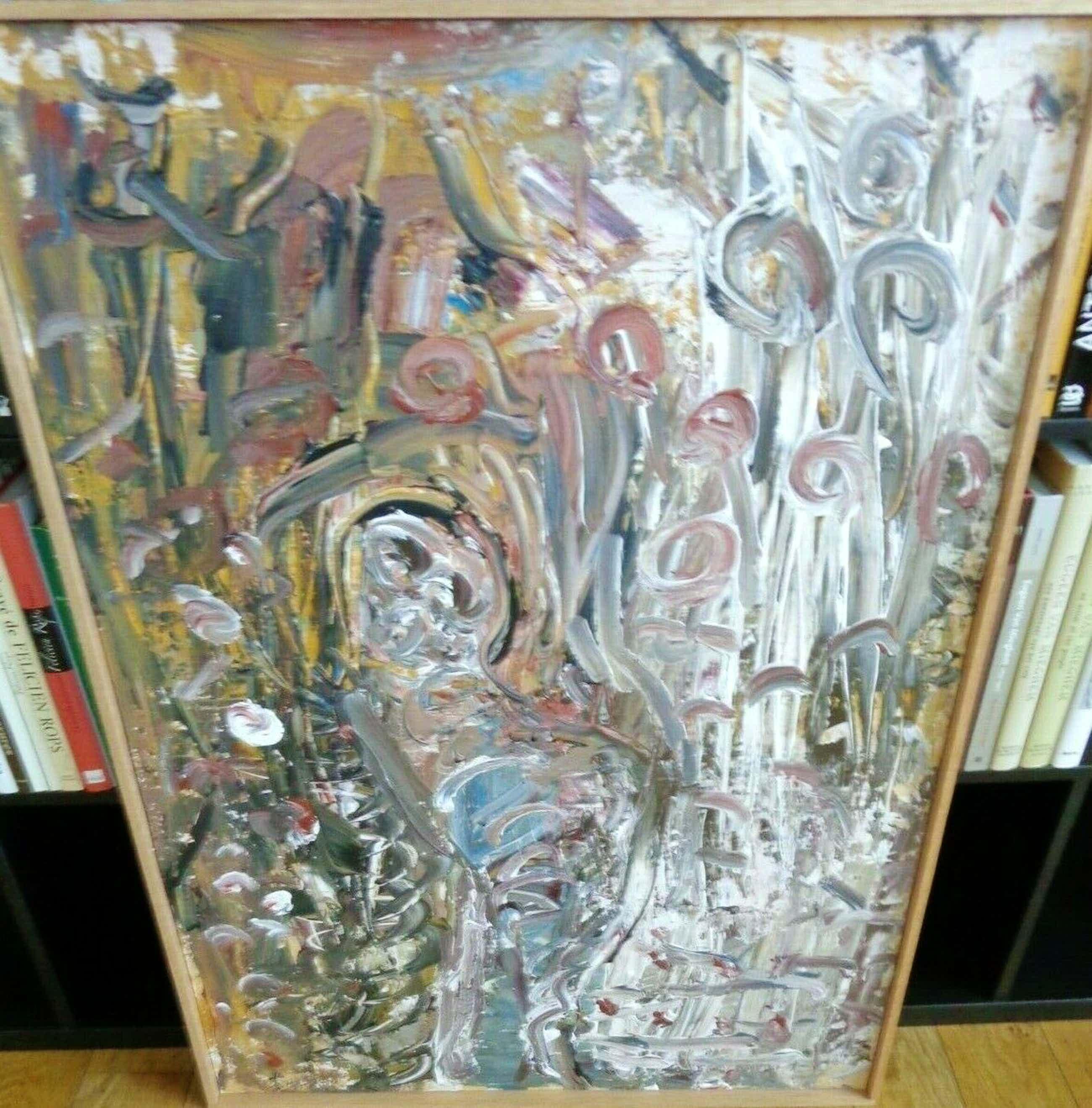 Jacques Slegers - ABSTRACTIE / OLIEVERF PANEEL / 102x72cm / KADER / SIG kopen? Bied vanaf 35!