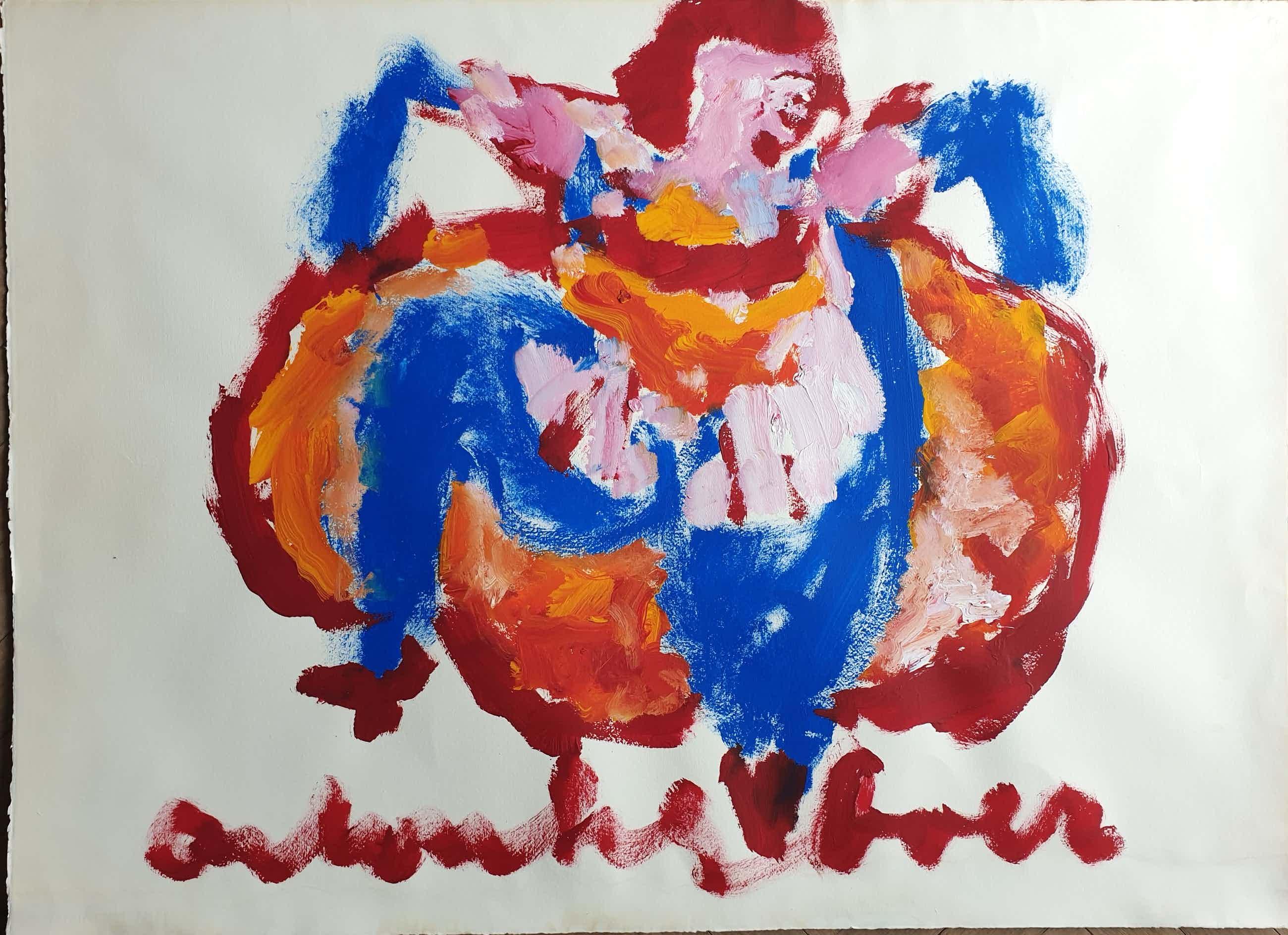 Anton Heyboer - Can Can Danseres - Zeer groot 78 x 107 cm - Dik geschilderd - kopen? Bied vanaf 250!