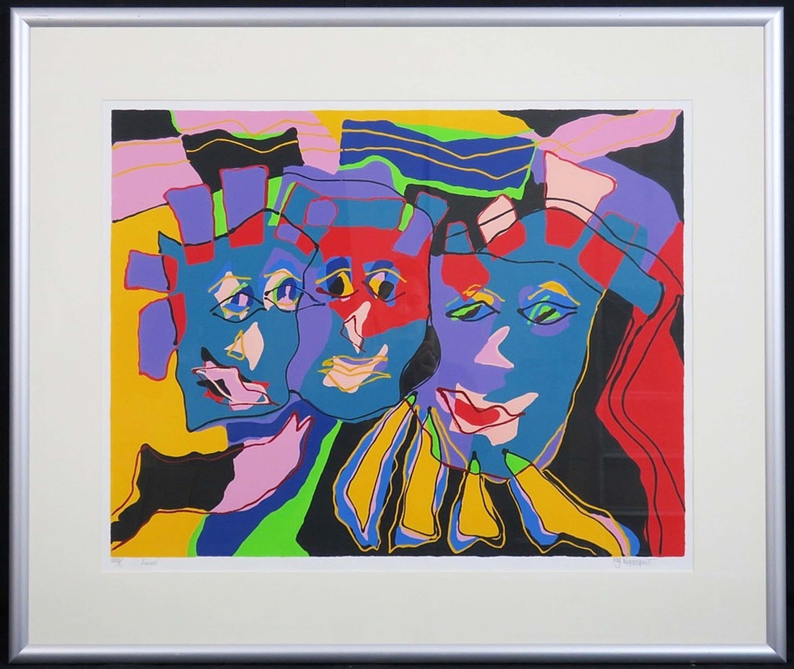 Marianne Naerebout - Kleurenzeefdruk FACES Handgesigneerd en INGELIJST!! kopen? Bied vanaf 125!