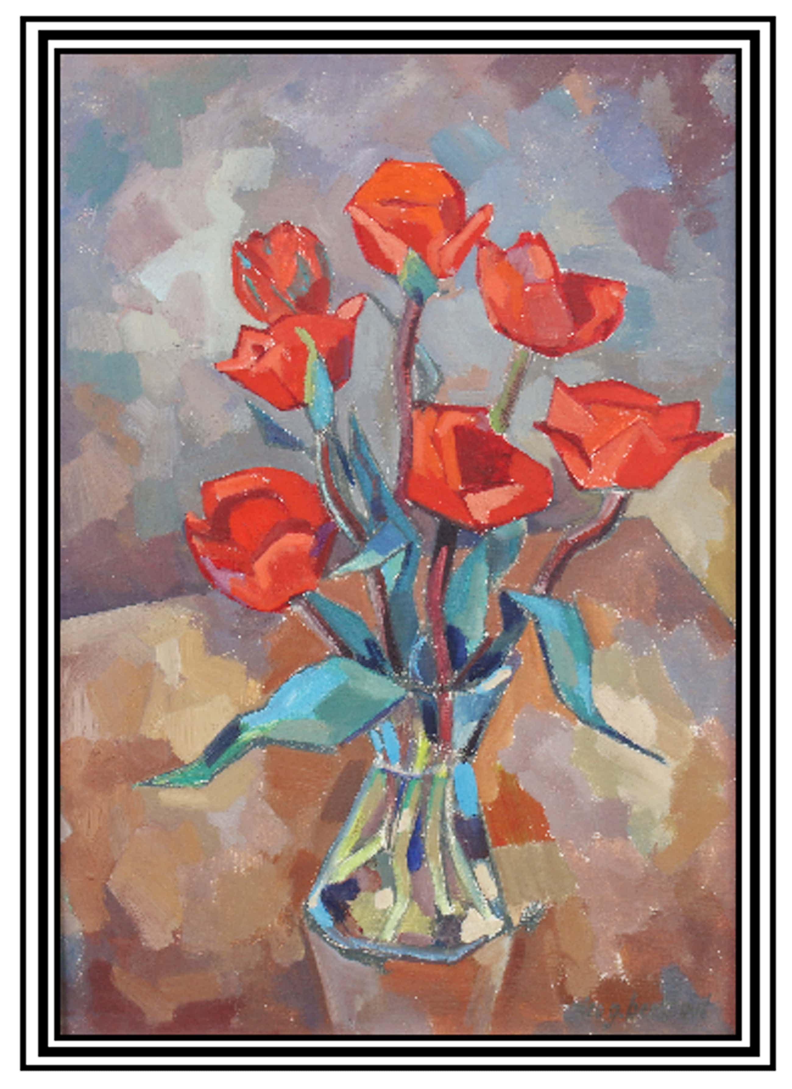 Nico Berkhout - Rode tulpen in vaas..... kopen? Bied vanaf 120!