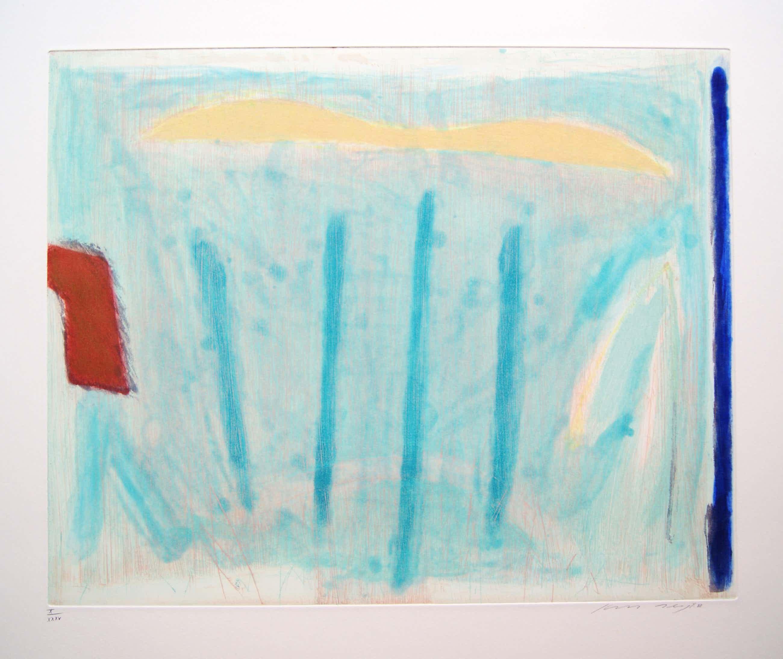 Kees Slegt - kleurenets 'abstract landschap - 1988 kopen? Bied vanaf 50!