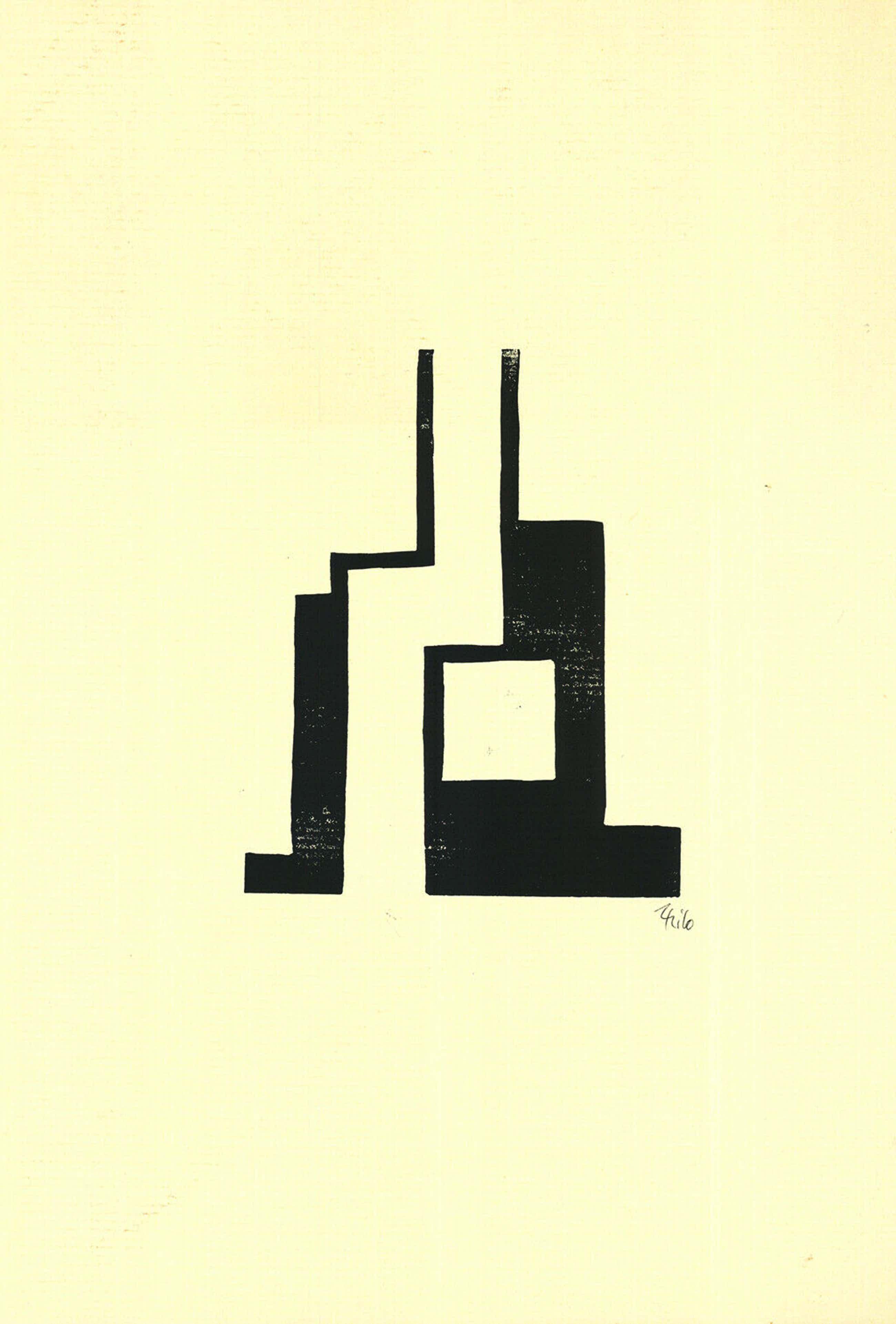 Thilo Maatsch - Handgesigneerde houtsnede: Geometrische Compositie kopen? Bied vanaf 35!