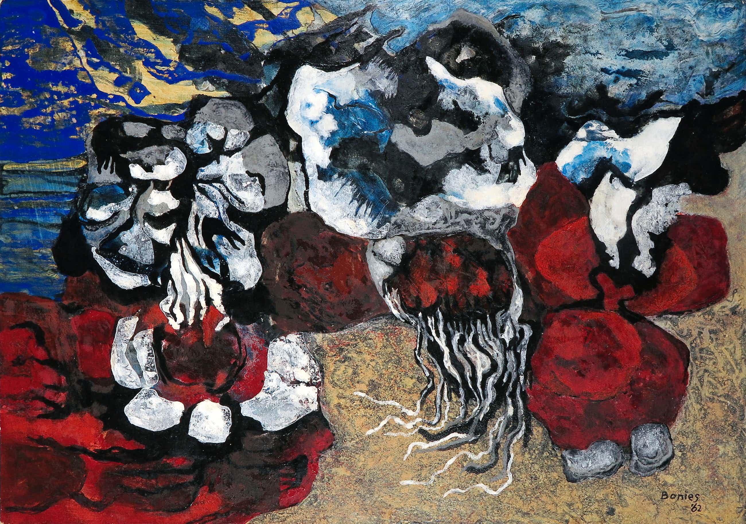 Bob Bonies - Acryl op papier, Abstracte compositie kopen? Bied vanaf 100!