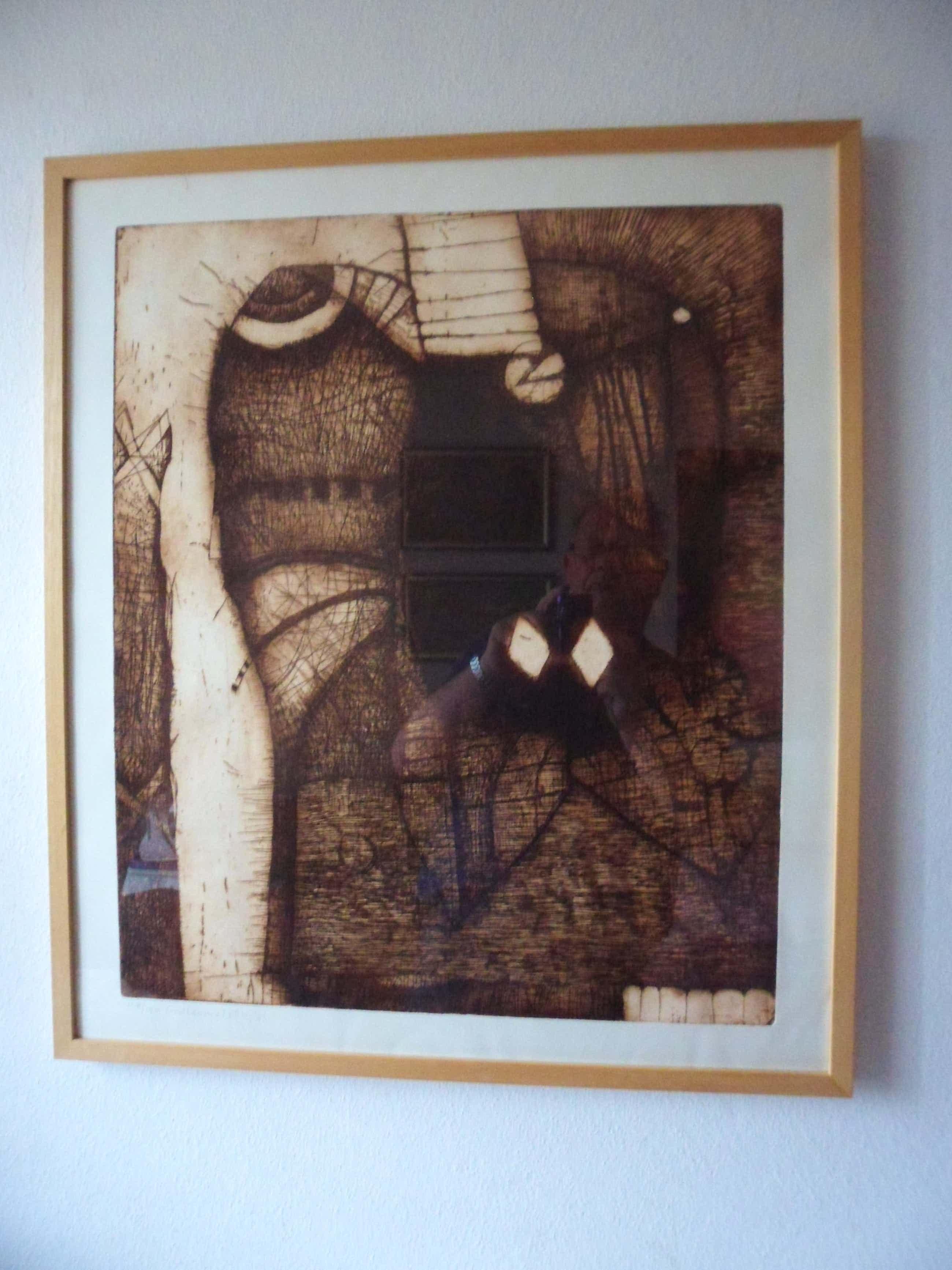 Guillaume Le Roy - Fraaie abstracte ets in sepia kleuren. kopen? Bied vanaf 45!