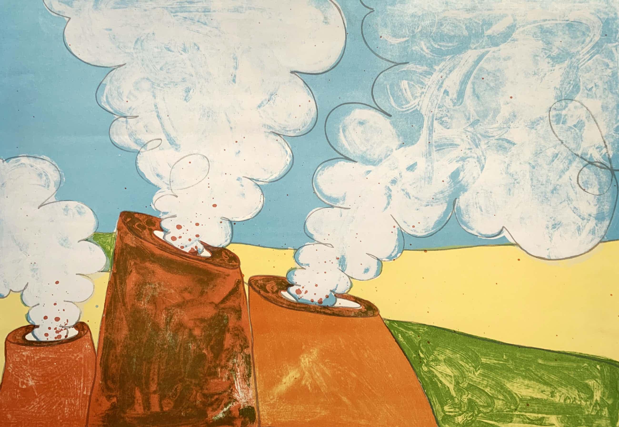 Mark Brusse - kleurenzeefdruk - 'Drie vulkanen' - 1980 kopen? Bied vanaf 75!