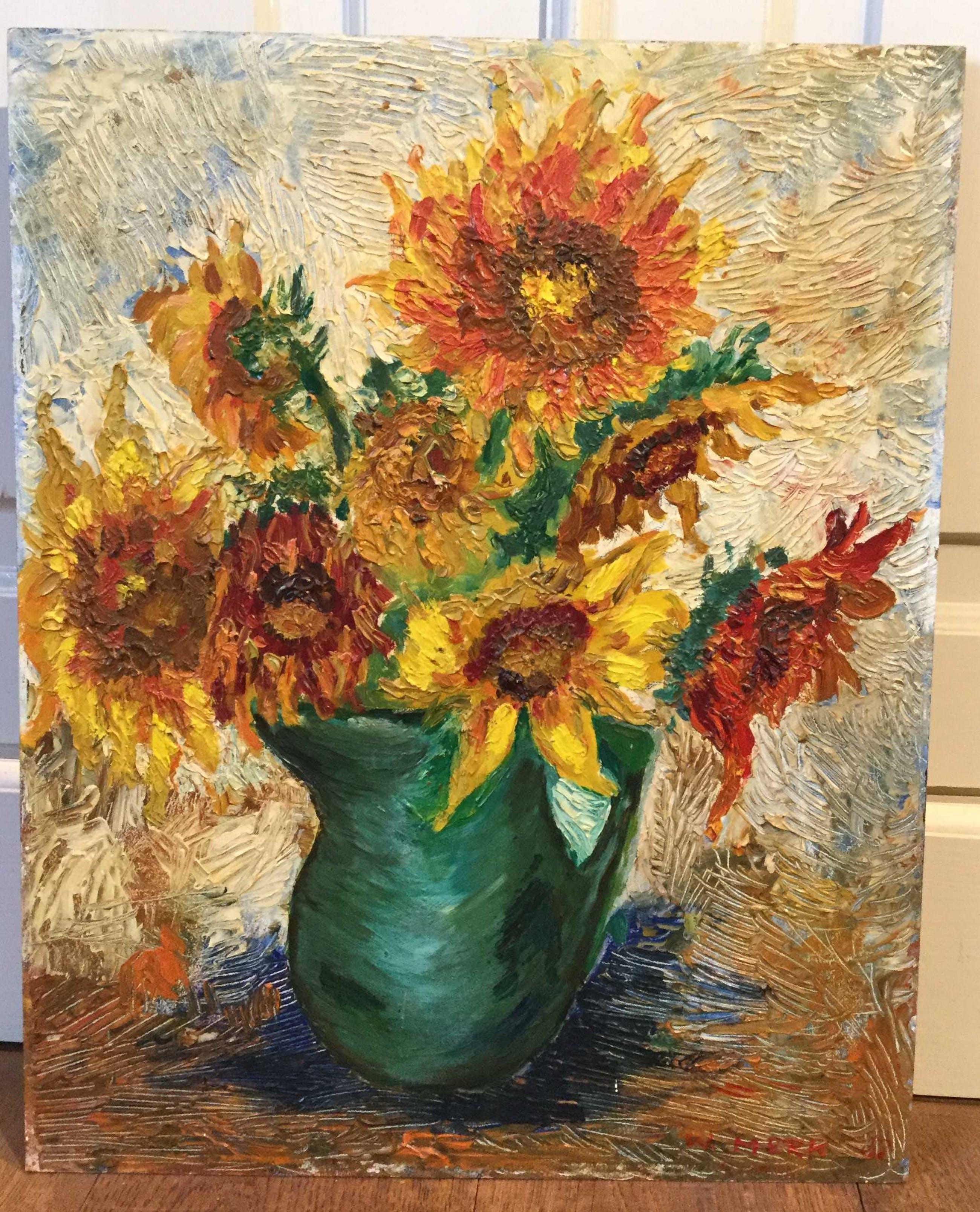 Niet of onleesbaar gesigneerd - c2778, zomer 1966, zonnebloemen kopen? Bied vanaf 10!