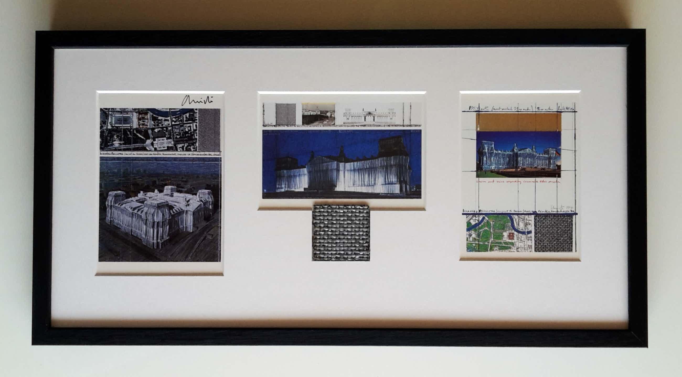 Christo - Wrapped Reichstag - 3 artcards - handgesigneerd en ingelijst - incl. stukje stof kopen? Bied vanaf 195!