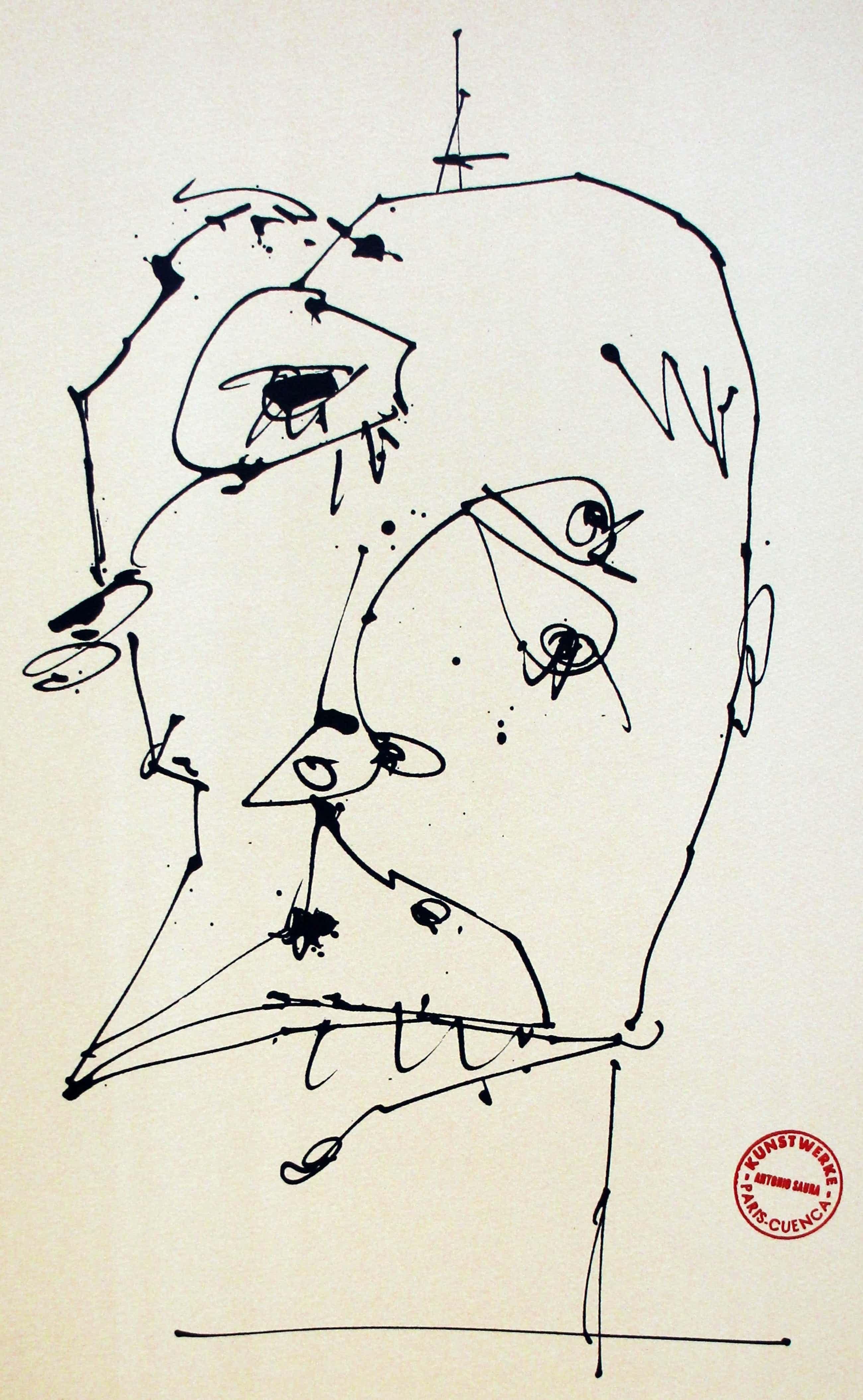 Antonio Saura - Litho: Vier maskers bij zelfportretten - 1981(3) kopen? Bied vanaf 250!