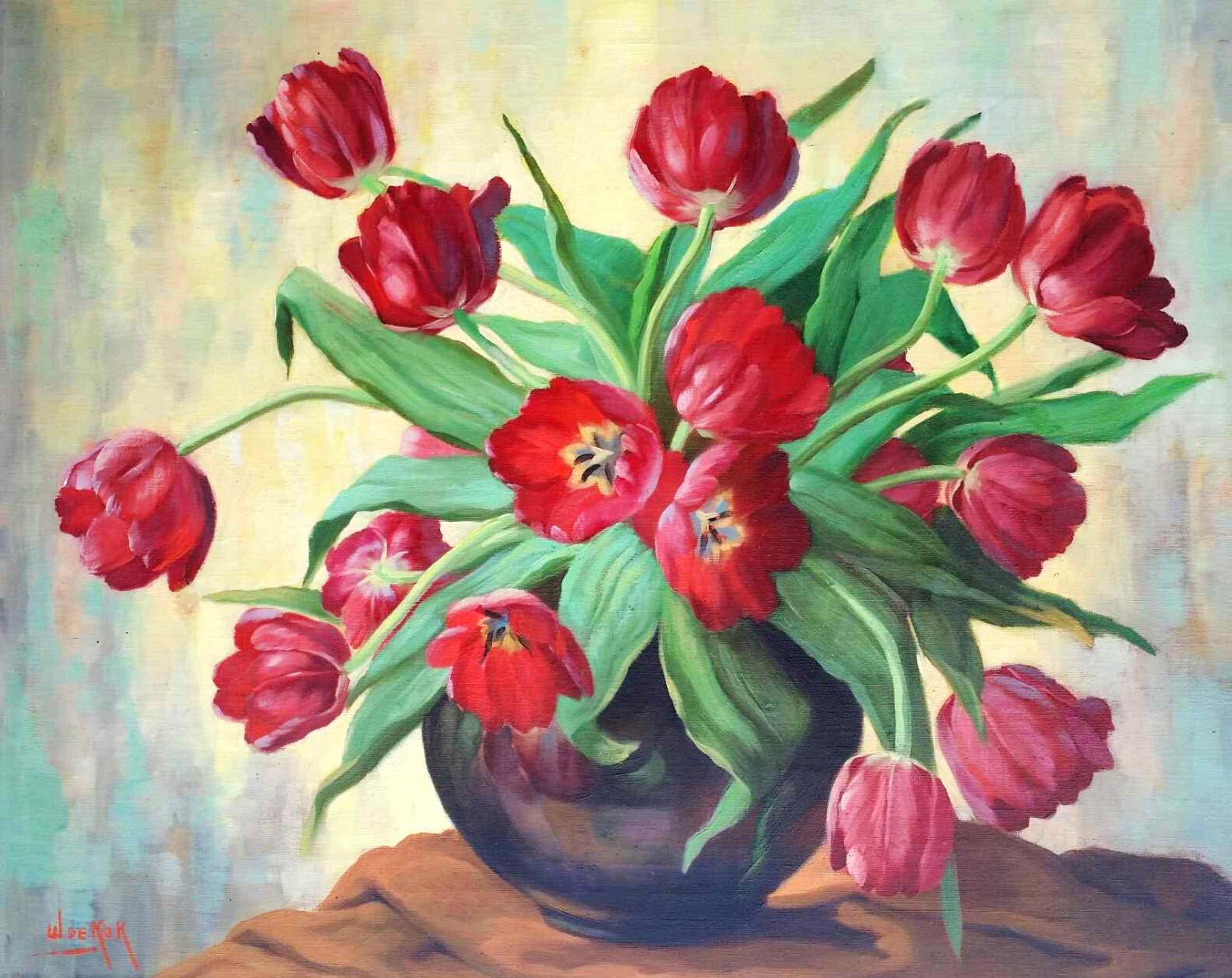 Willem de Kok - Tulpen in vaas. Stilleven. kopen? Bied vanaf 130!